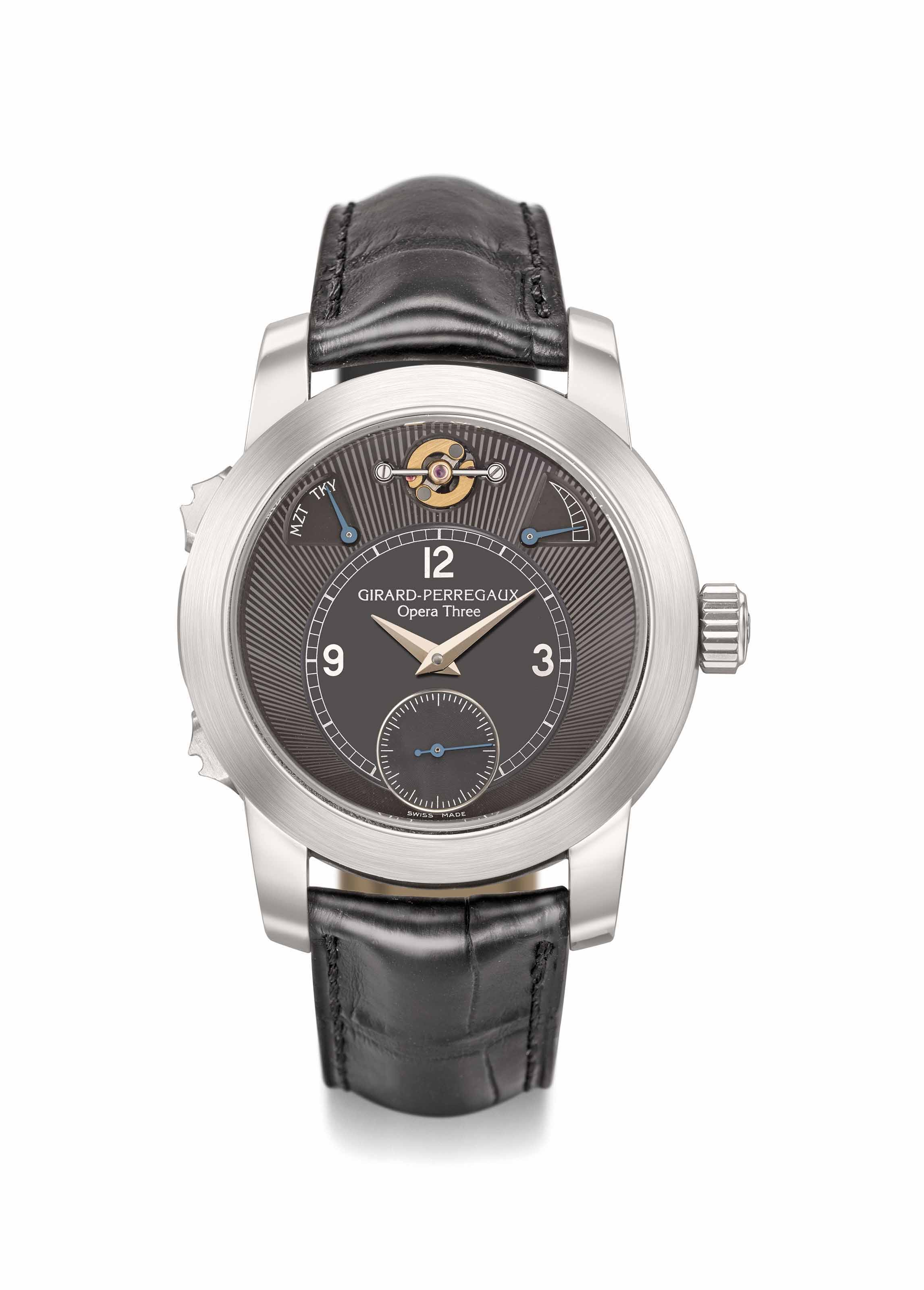 "Girard-Perregaux. A very rare, attractive and possibly unique platinum musical wristwatch with special order black dial, power reserve, Certificate of Authenticity and box, playing Mozart's ""A Little Night Music"" or Tchaikovsky's ""No Great Love"" on demand or every hour"