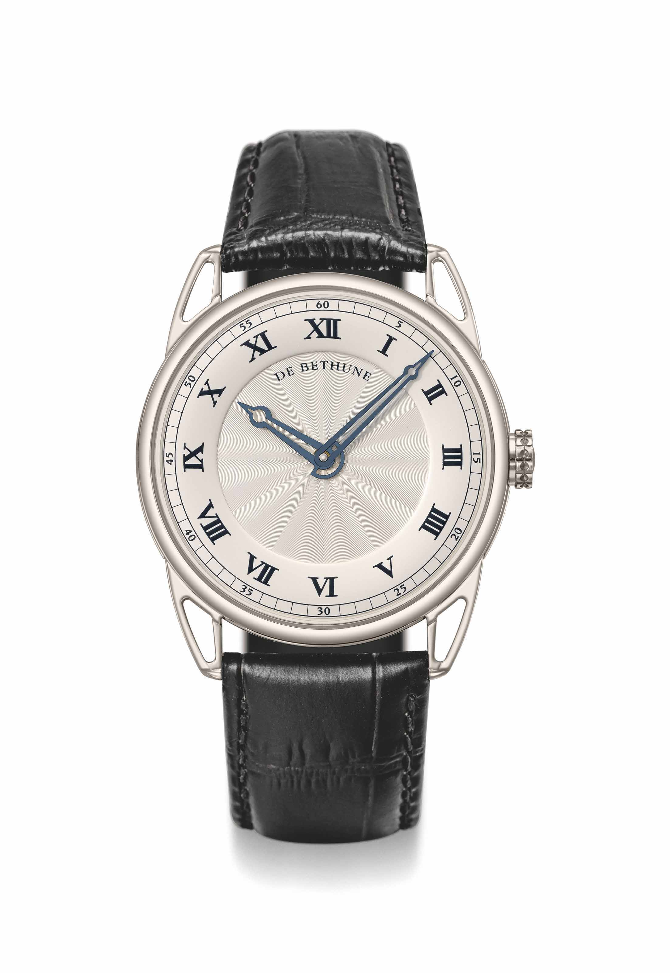 De Bethune. A fine and large 18K white gold automatic wristwatch with 6-days power reserve, certificate and box