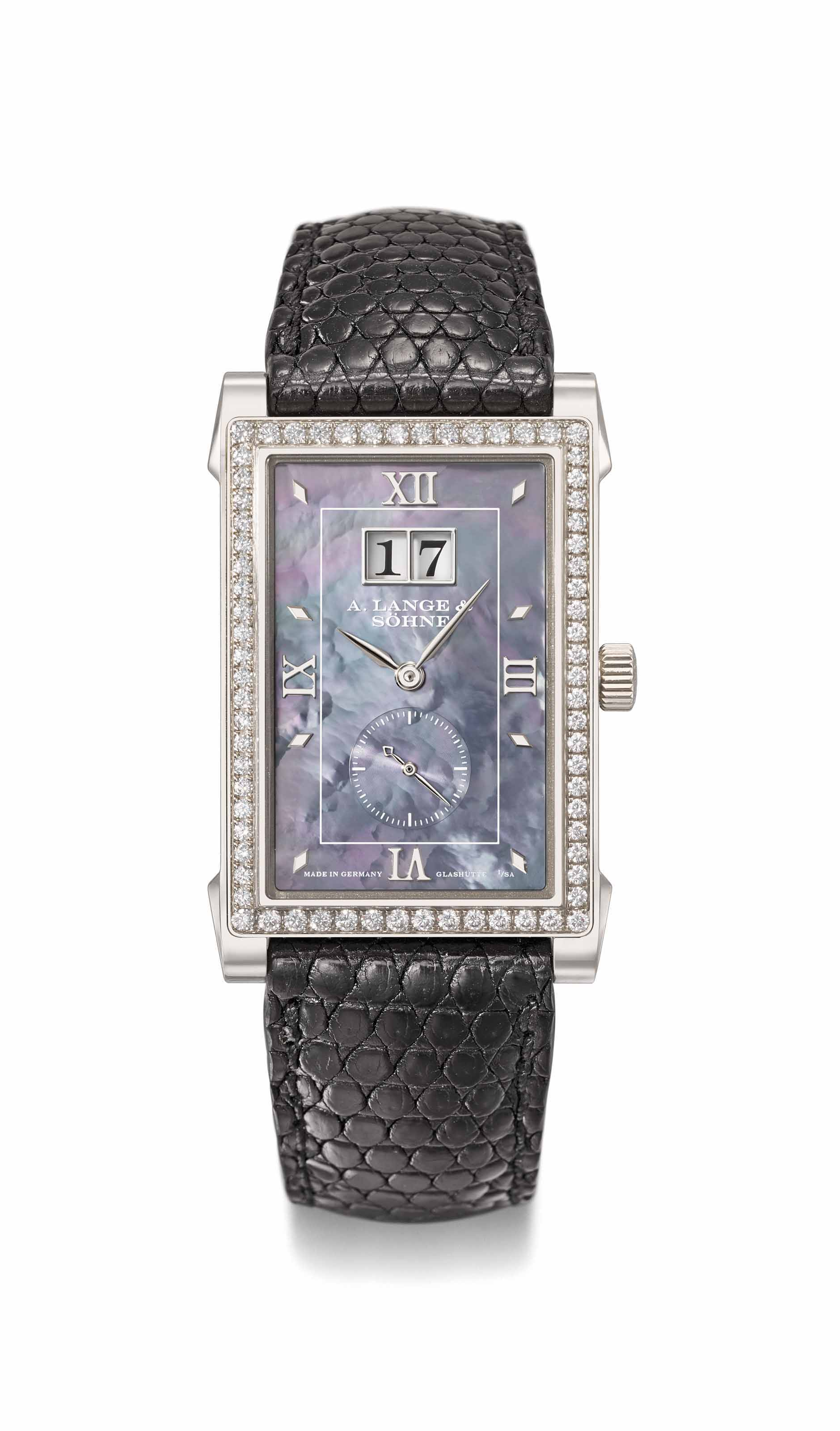 A. Lange & Söhne. A fine and rare limited edition 18K white gold and diamond-set rectangular wristwatch with date, mother-of-pearl dial and guarantee