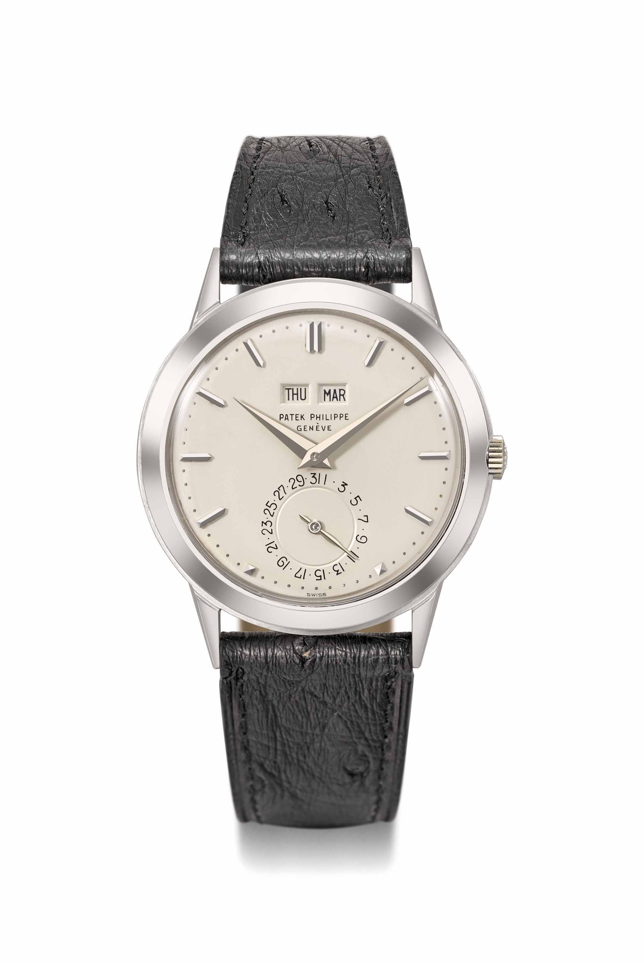 Patek Philippe. An exceptional and historically important 18K white gold automatic perpetual calendar wristwatch without moon phases