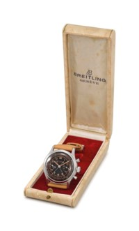 BREITLING. A FINE, RARE AND ATTRACTIVE STAINLESS STEEL SPLIT SECONDS CHRONOGRAPH WRISTWATCH WITH BLACK DIAL AND BOX