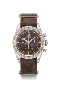 Omega. An extremely rare stainless steel water-resistant chronograph wristwatch with tropical brown dial