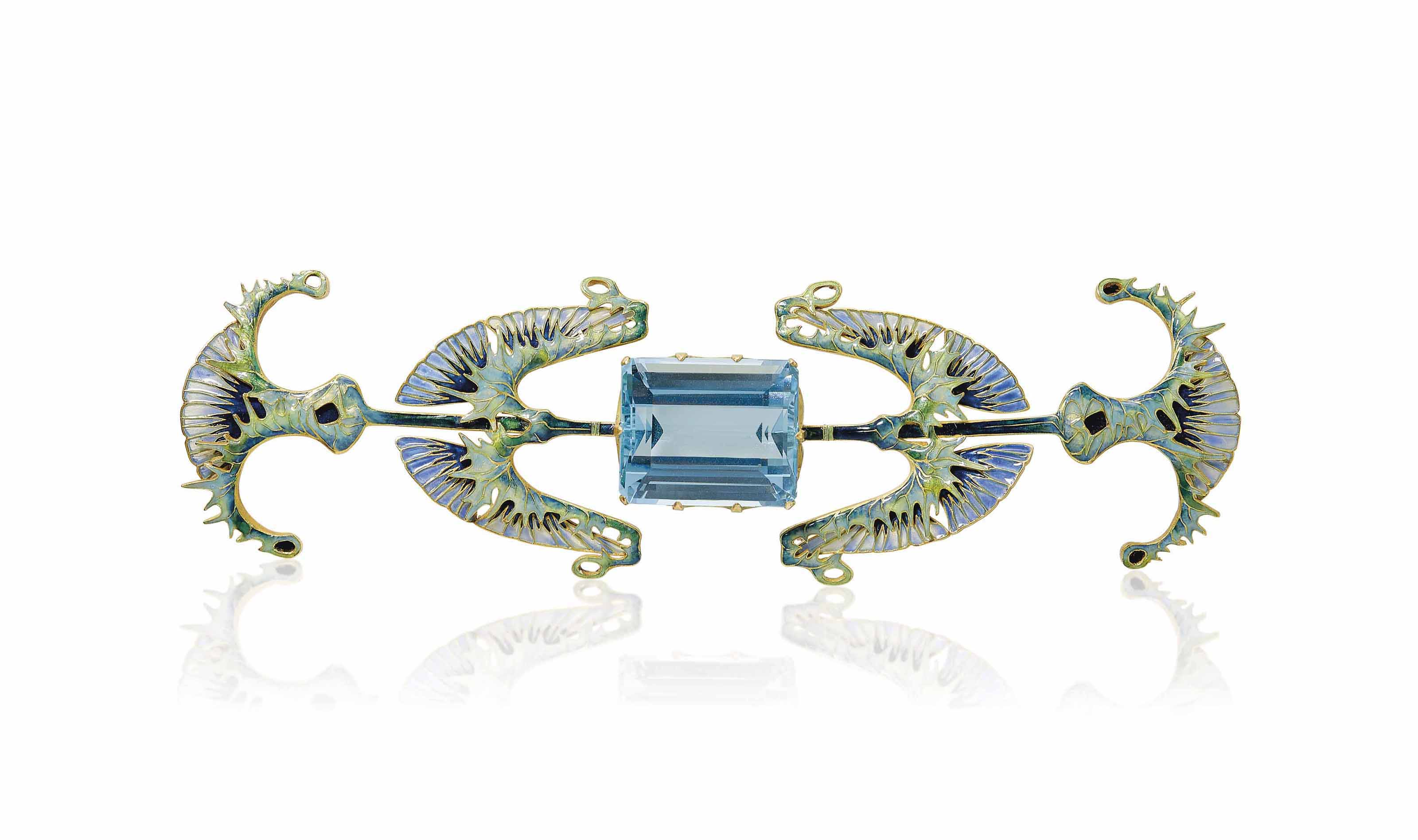 AN ART NOUVEAU AQUAMARINE AND ENAMEL 'THISTLE' DEVANT-DE-CORSAGE, BY RENÉ LALIQUE