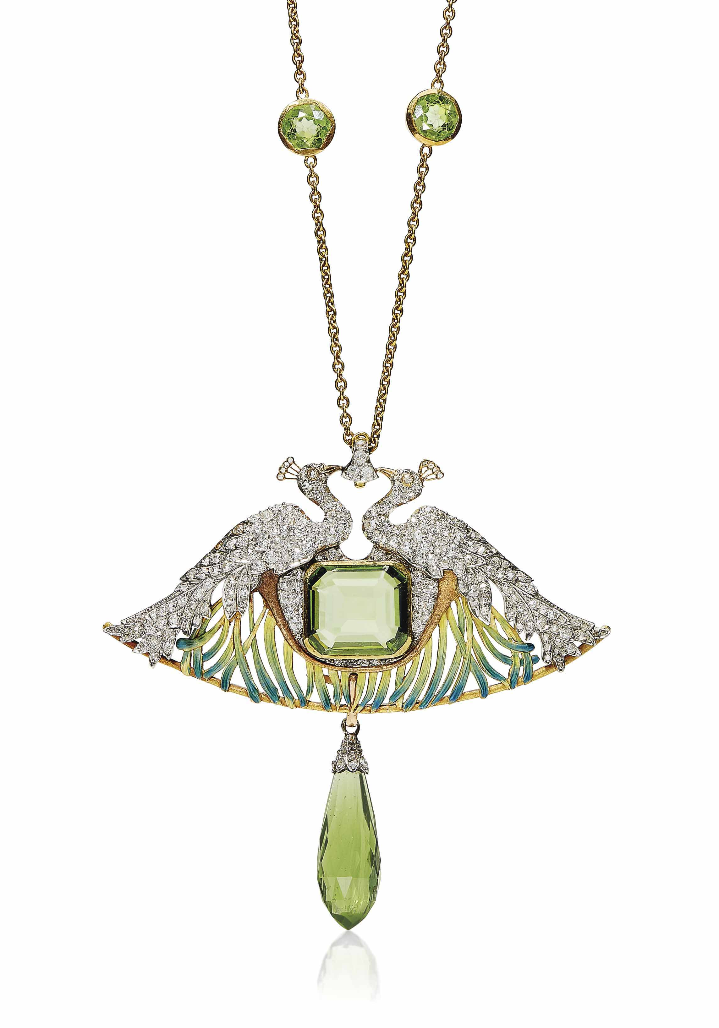 AN ART NOUVEAU PERIDOT, DIAMOND, ENAMEL AND GLASS PENDENT NECKLACE, BY RENÉ LALIQUE