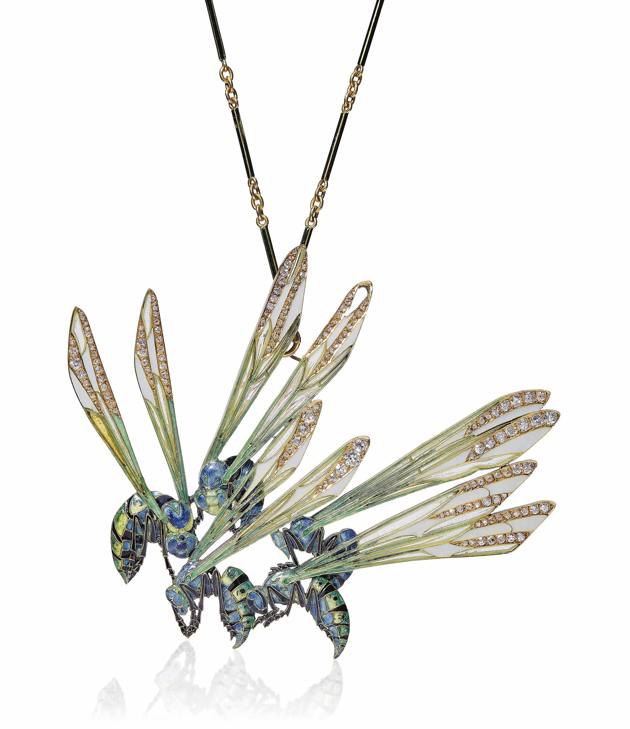 AN ART NOUVEAU ENAMEL AND DIAMOND 'WASP' PENDANT/BROOCH, BY RENÉ LALIQUE