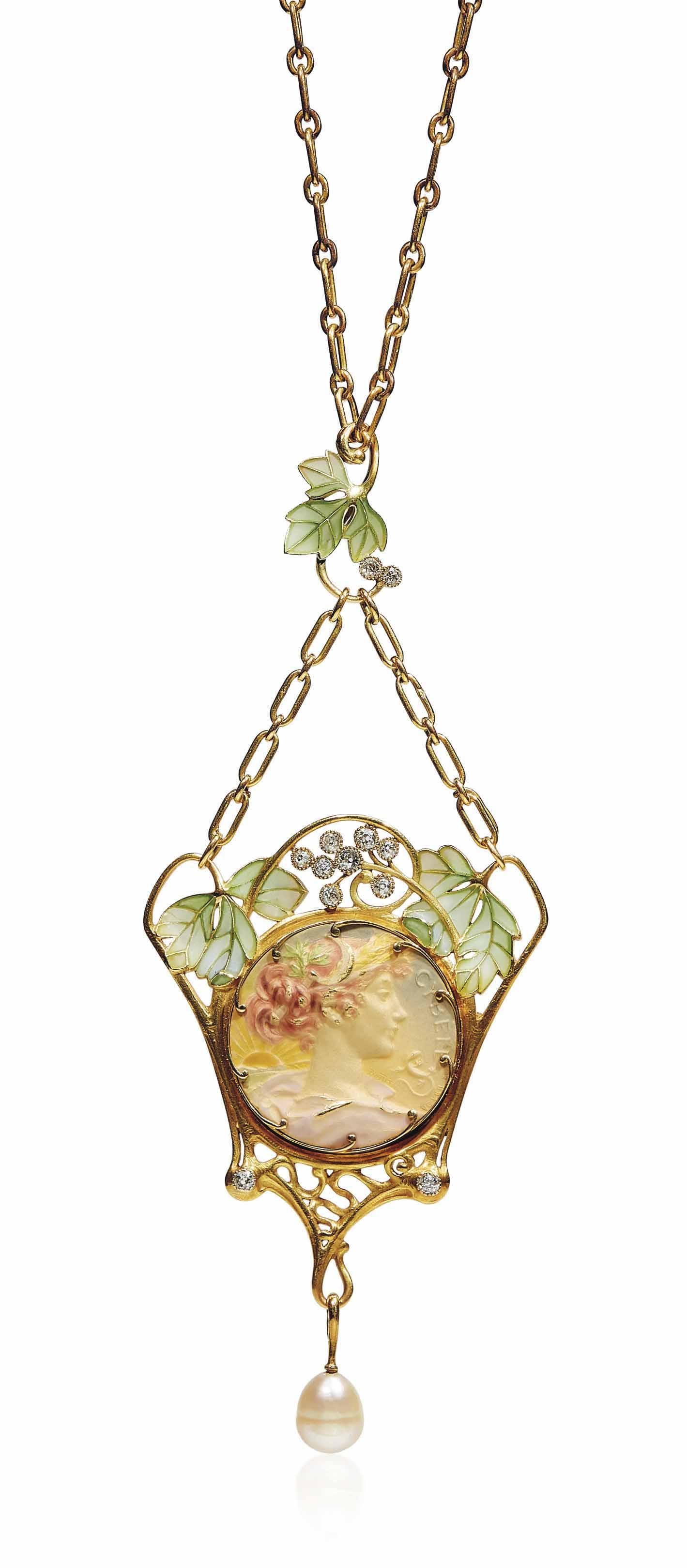 AN ART NOUVEAU ENAMEL, DIAMOND AND PEARL PENDENT NECKLACE, BY HENRI VEVER