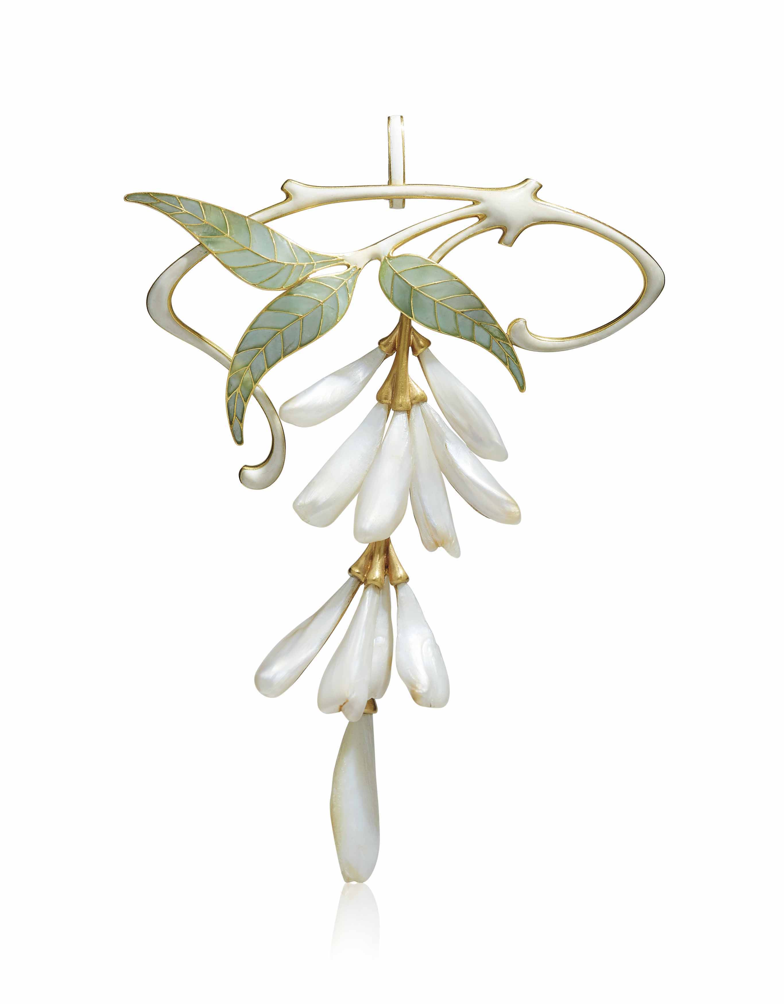AN ART NOUVEAU PEARL AND ENAMEL PENDANT/BROOCH, BY HENRI VEVER