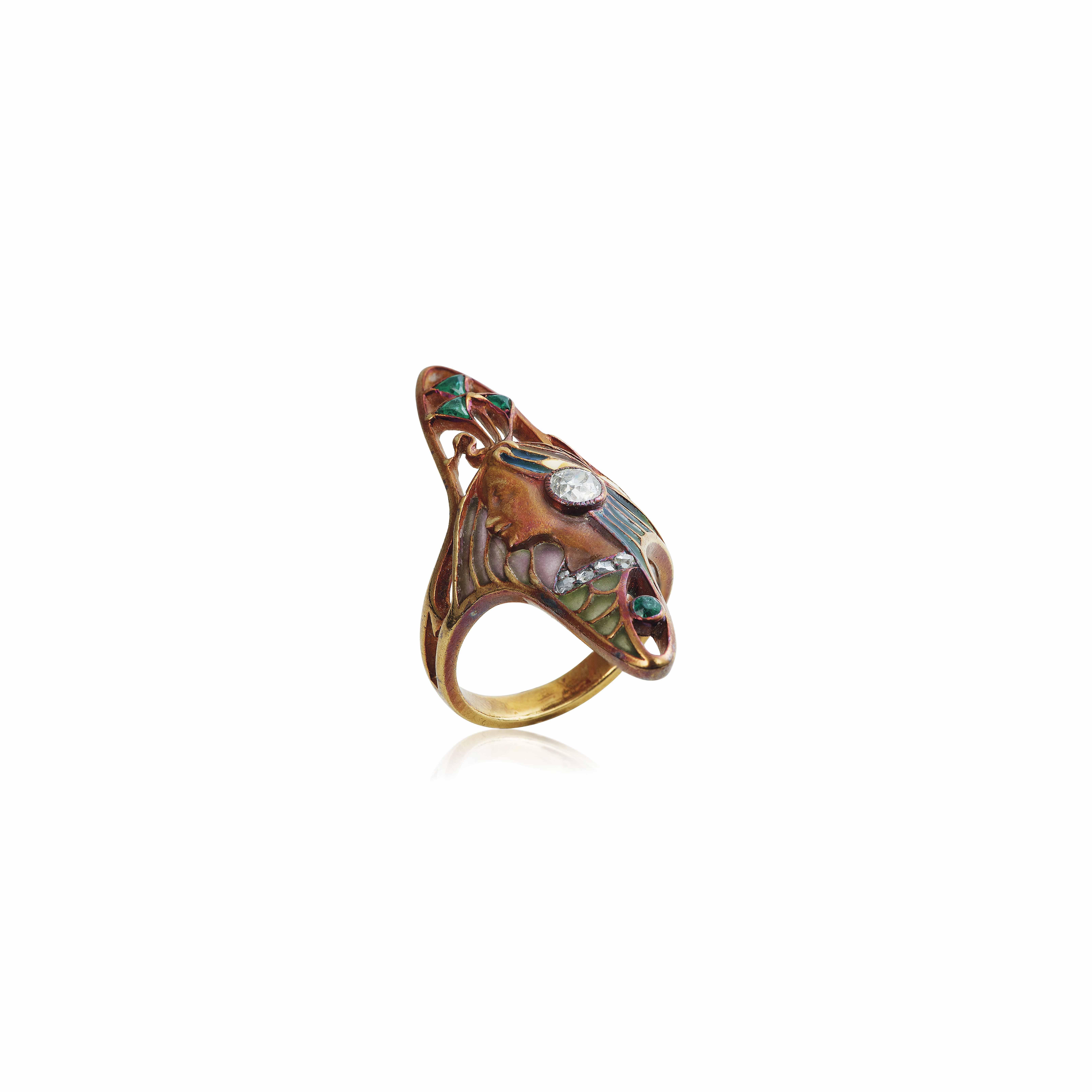 AN ART NOUVEAU ENAMEL, DIAMOND AND EMERALD RING, BY LÉOPOLD GAUTRAIT