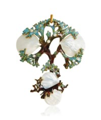 AN ART NOUVEAU MOTHER-OF-PEARL, ENAMEL AND SEED PEARL PENDANT, BY LUCIEN GAILLARD