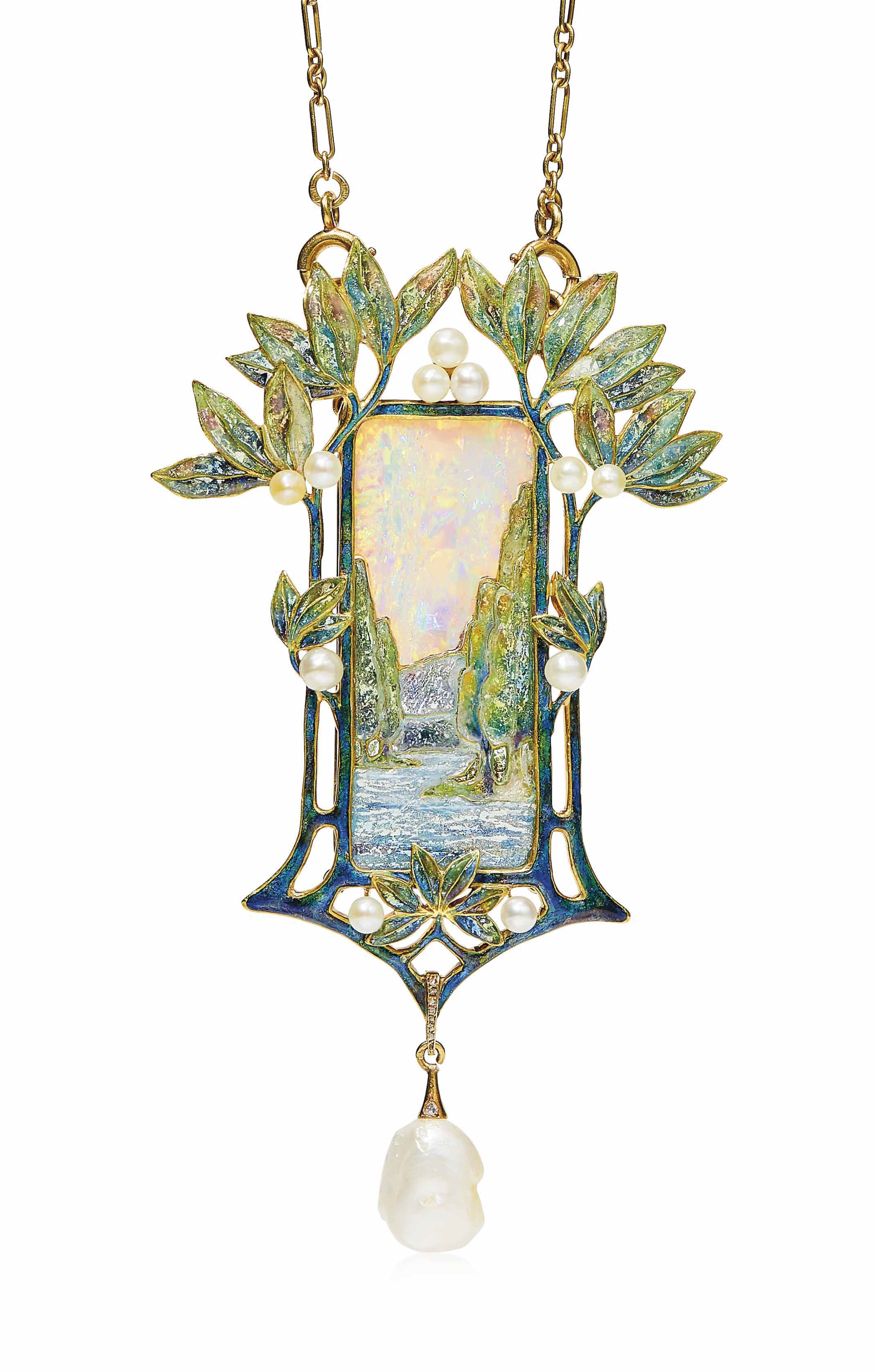 AN ART NOUVEAU OPAL, ENAMEL AND PEARL PENDENT NECKLACE, BY GEORGES FOUQUET