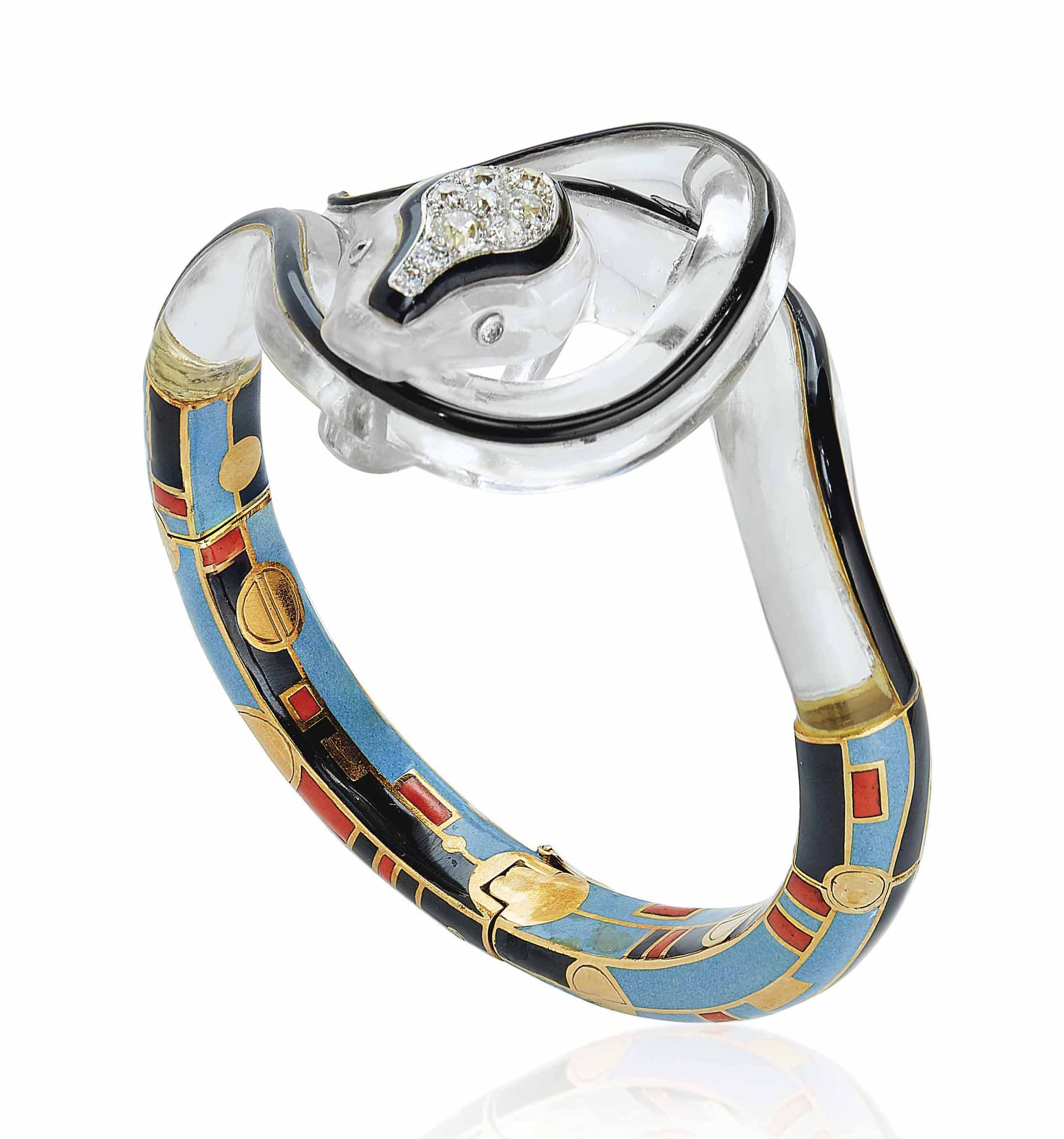 AN ART DÉCO ROCK CRYSTAL, DIAMOND AND ENAMEL BANGLE, BY JANESICH