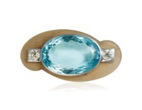 AN ART DÉCO AQUAMARINE, DIAMOND AND AGATE BROOCH, BY RAYMOND TEMPLIER