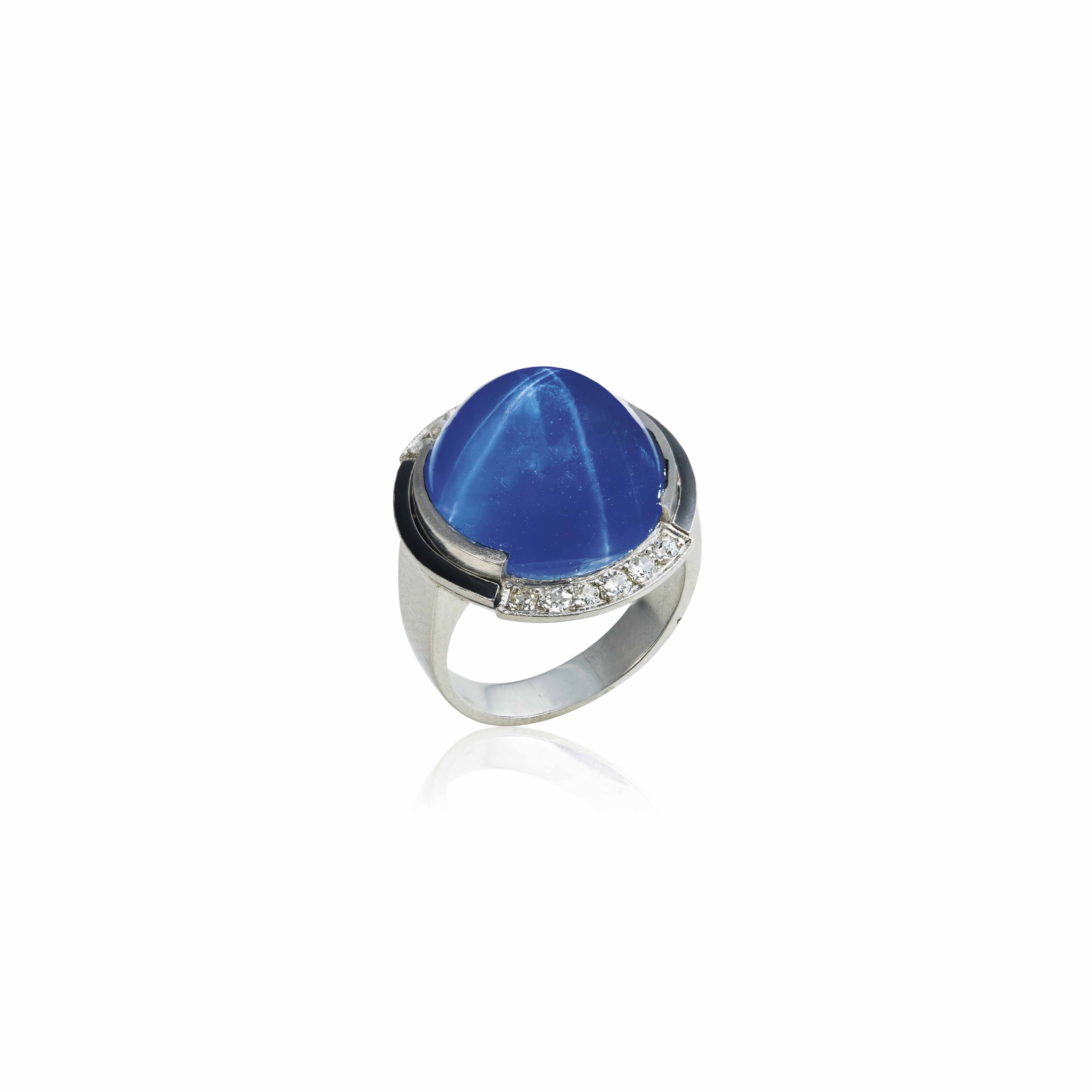 AN ART DÉCO SAPPHIRE, DIAMOND AND ENAMEL RING, BY RAYMOND TEMPLIER