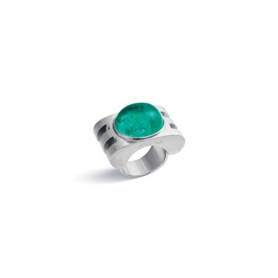 AN EMERALD RING, BY JEAN FOUQU