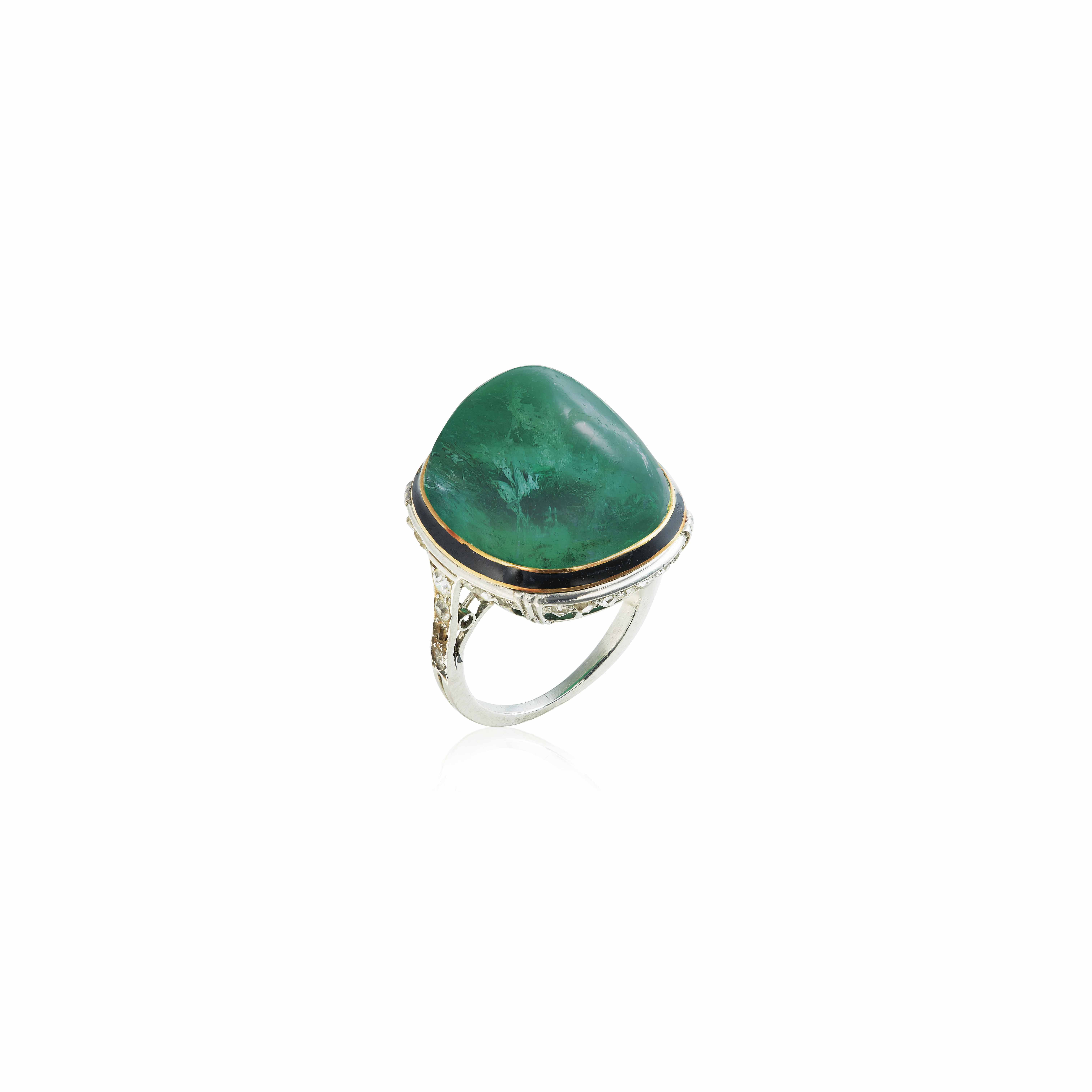 AN ART DÉCO EMERALD, ENAMEL AND DIAMOND RING, BY GEORGES FOUQUET
