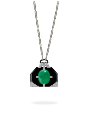 AN IMPORTANT EMERALD, ONYX AND