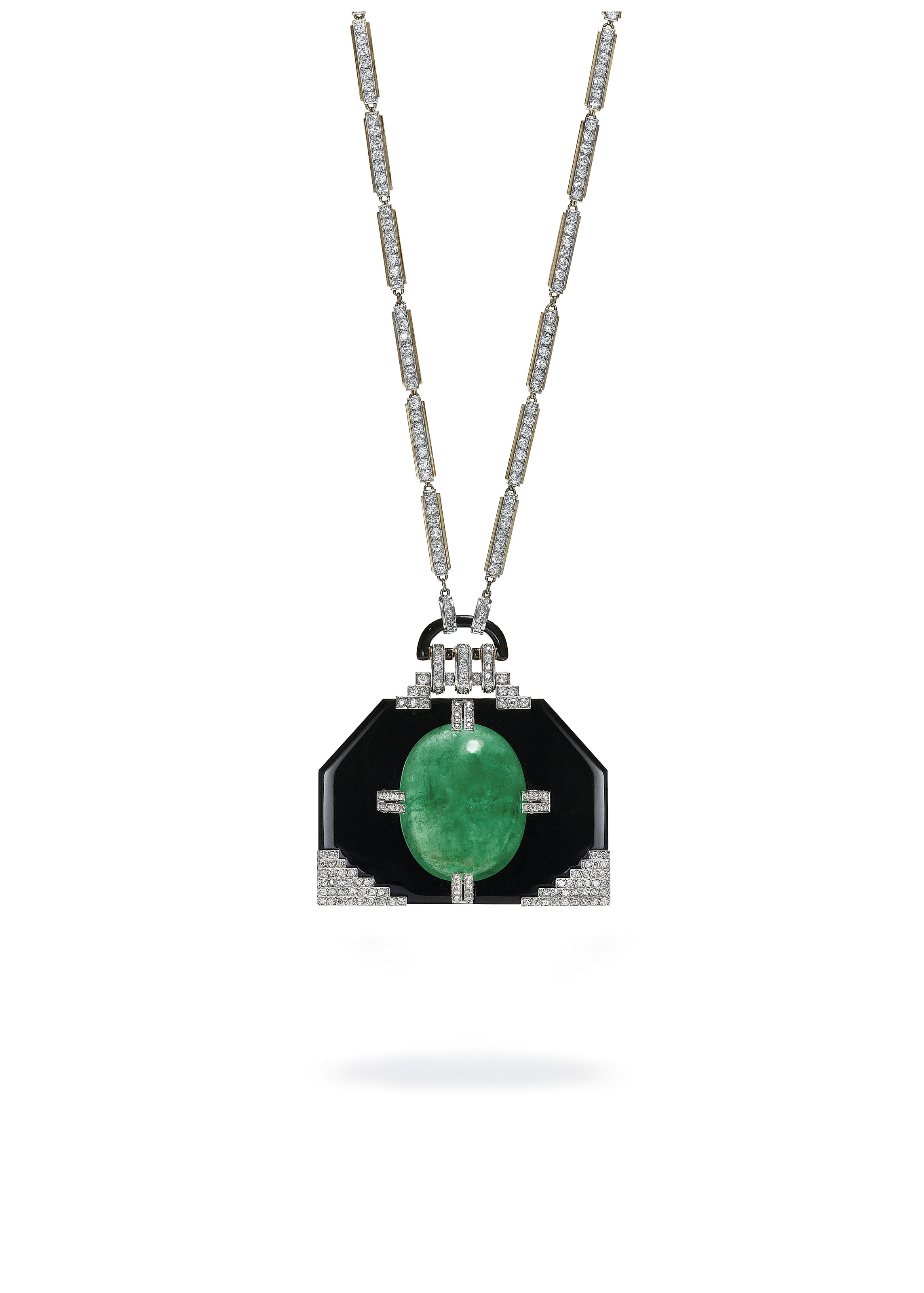 AN IMPORTANT EMERALD, ONYX AND DIAMOND PENDENT NECKLACE, BY GEORGES FOUQUET