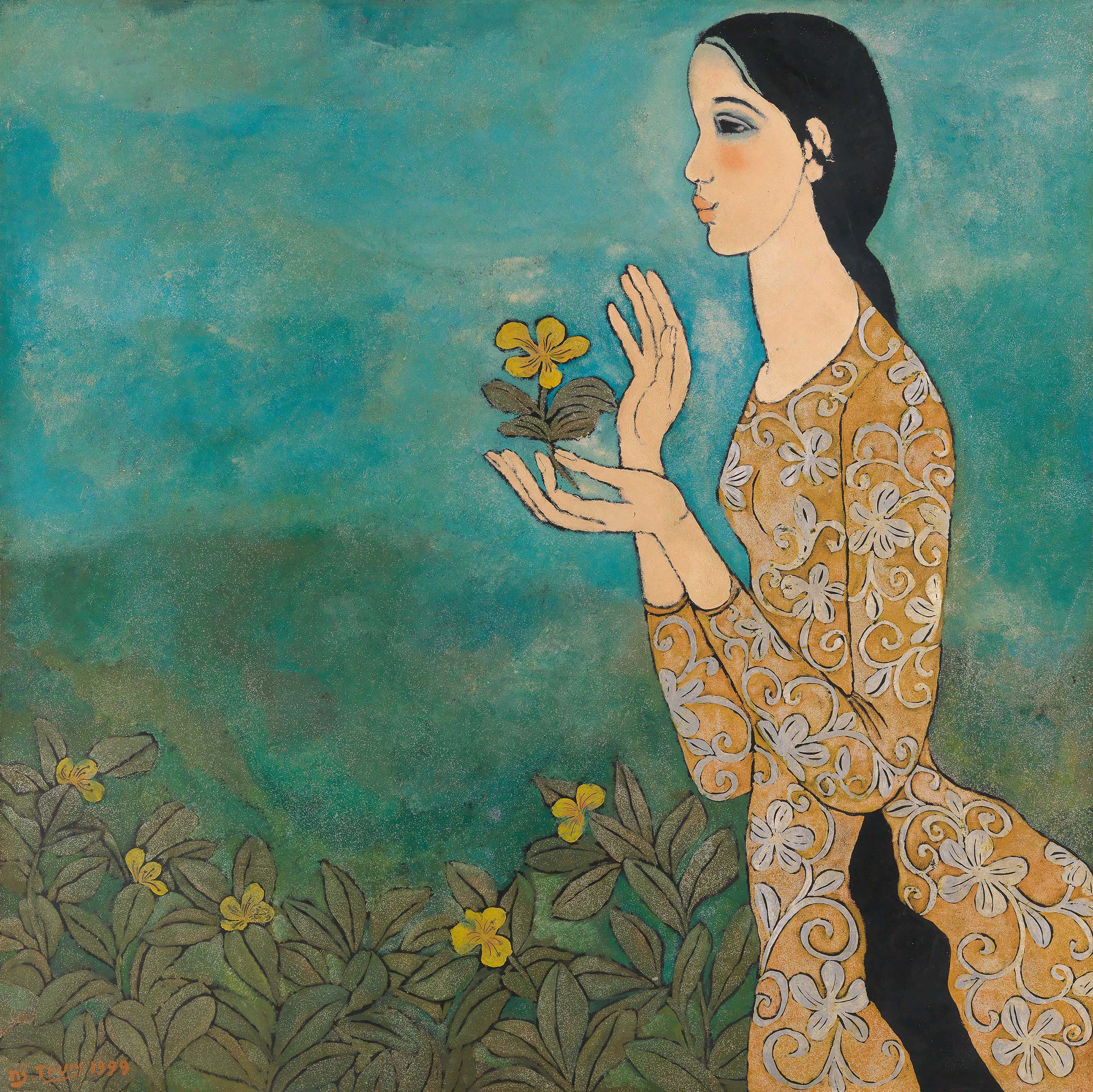 Lady in Ao Dai with a Ngoc Anh Flower in Her Hands