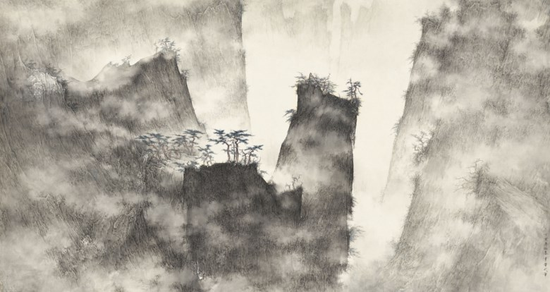 Li Huayi (b. 1948), Misty Mountains. 27½ x 52¾ in (70 x 134 cm). Sold for HK$3,460,000 on 27 November 2017 at Christie's in Hong Kong