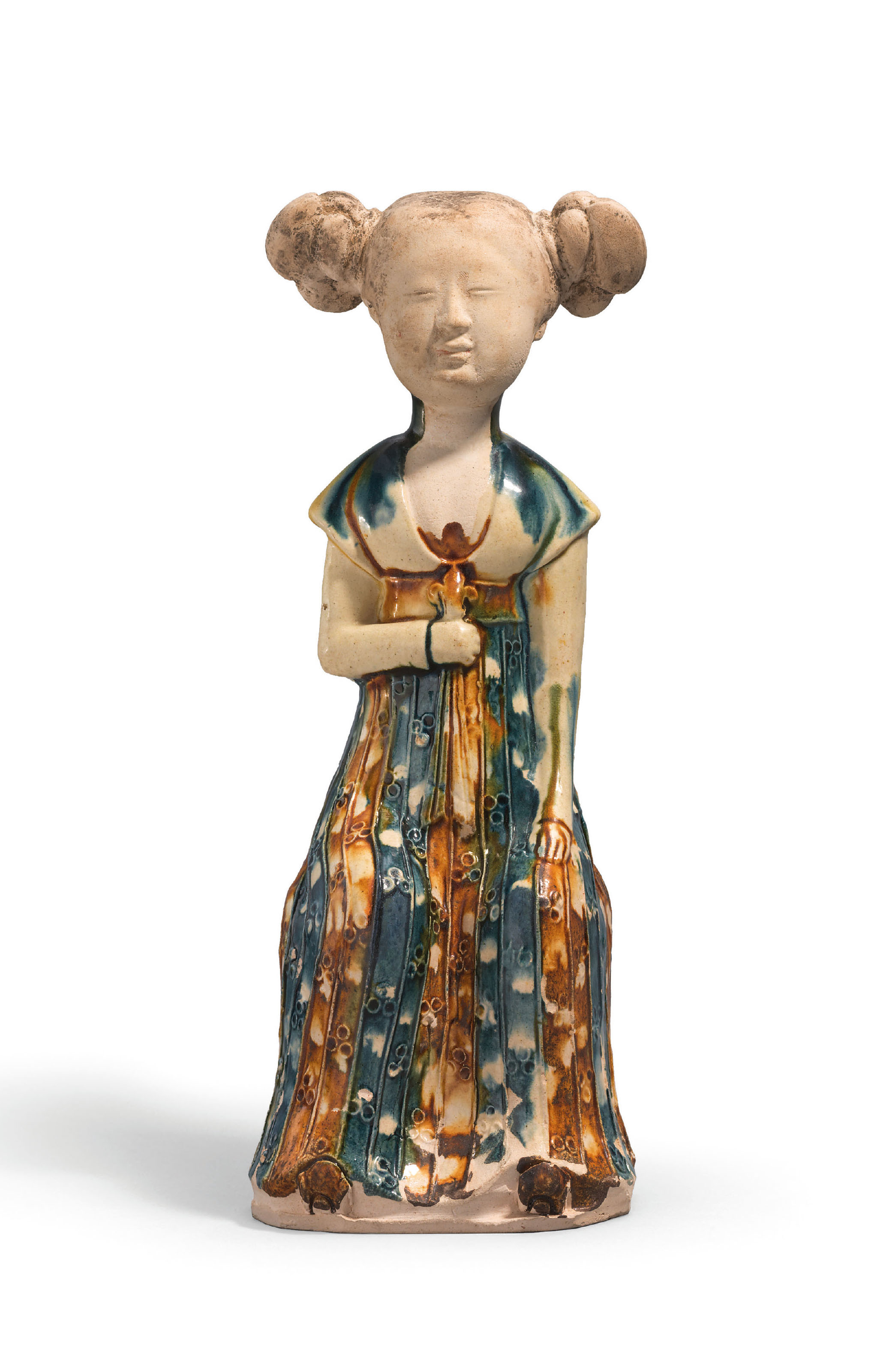 A VERY RARE INSCRIBED BLUE AND AMBER-GLAZED POTTERY FIGURE OF A SEATED LADY