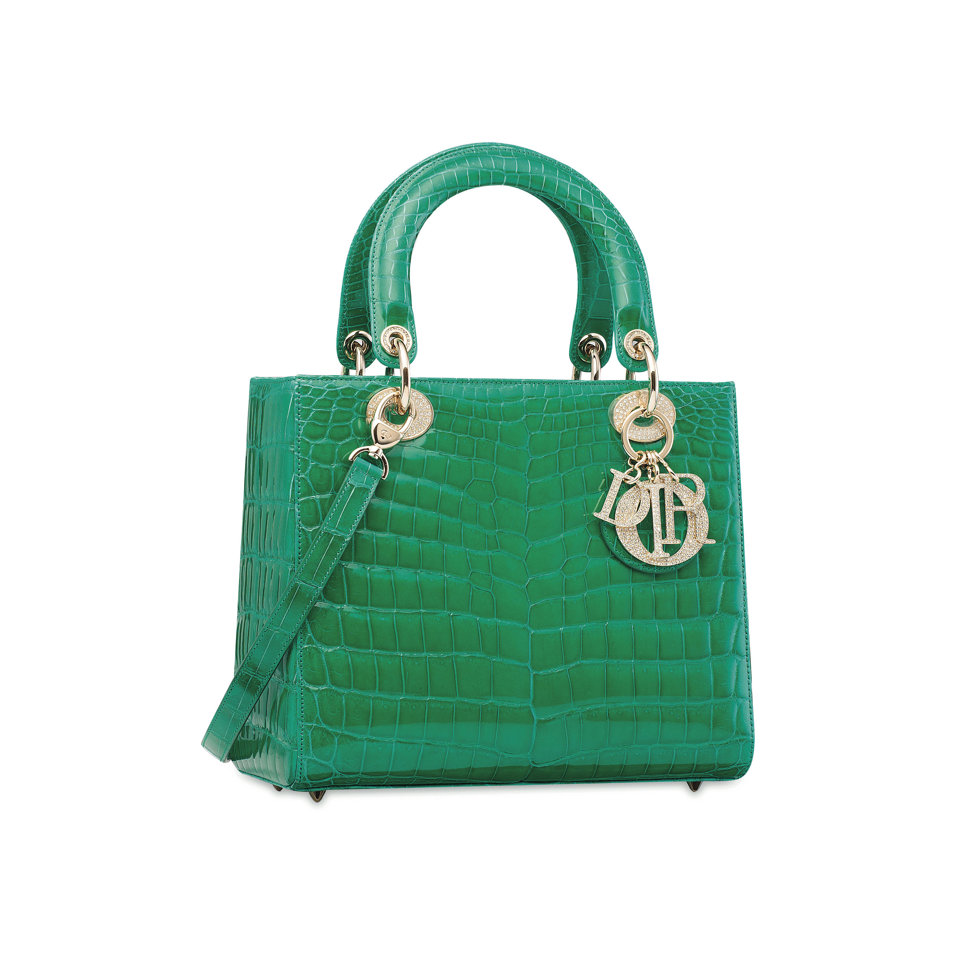 c8d0988900f3 A SHINY MINT GREEN CROCODILE LADY DIOR WITH GOLD   CRYSTAL HARDWARE ...