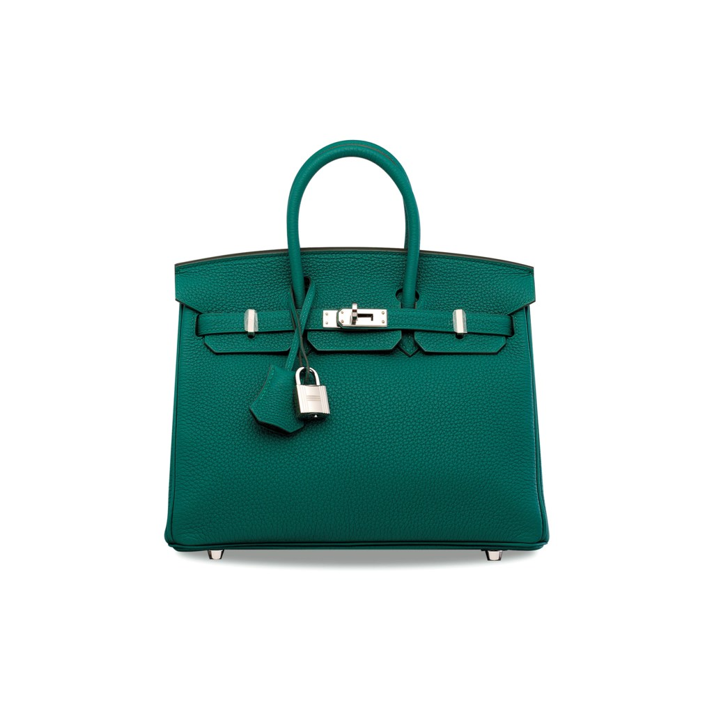4401f1e0de04 A MALACHITE TOGO LEATHER BIRKIN 25 WITH PALLADIUM HARDWARE