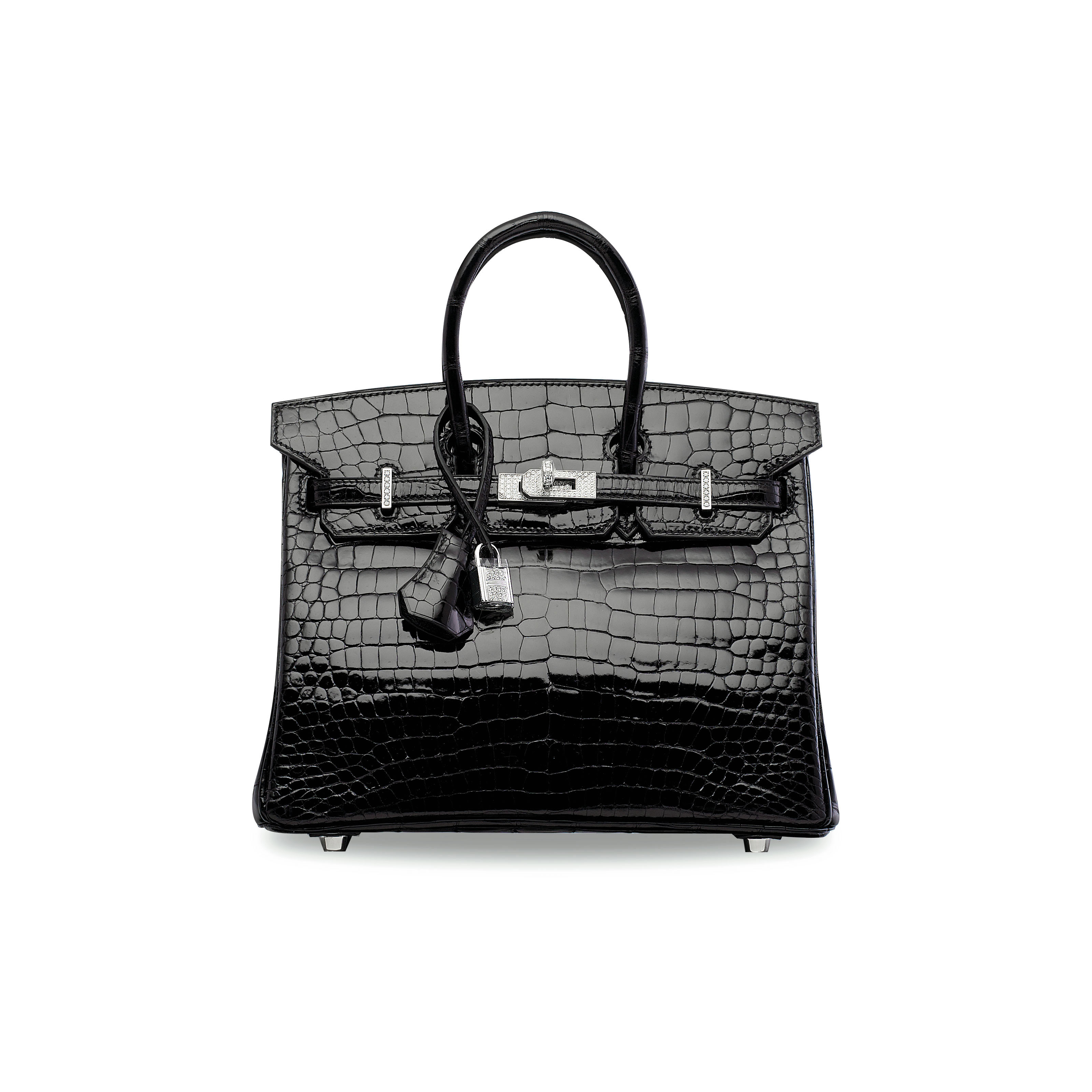 AN EXCEPTIONAL, SHINY BLACK POROSUS CROCODILE DIAMOND BIRKIN 25 WITH 18K WHITE GOLD & DIAMOND HARDWARE