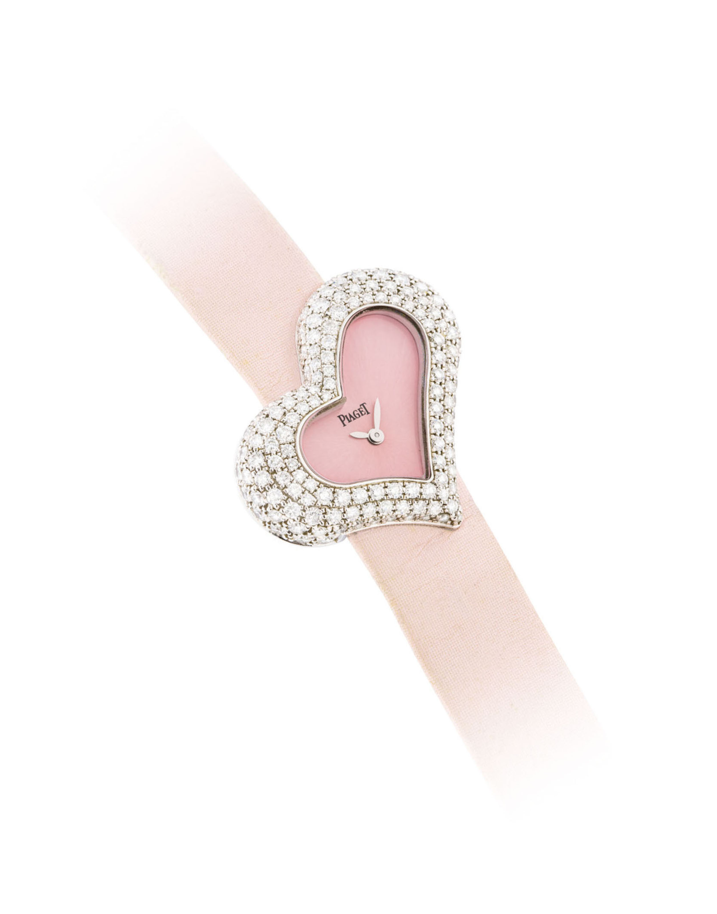 PIAGET A LADY'S 18K WHITE GOLD AND DIAMOND-SET HEART-SHAPED ...
