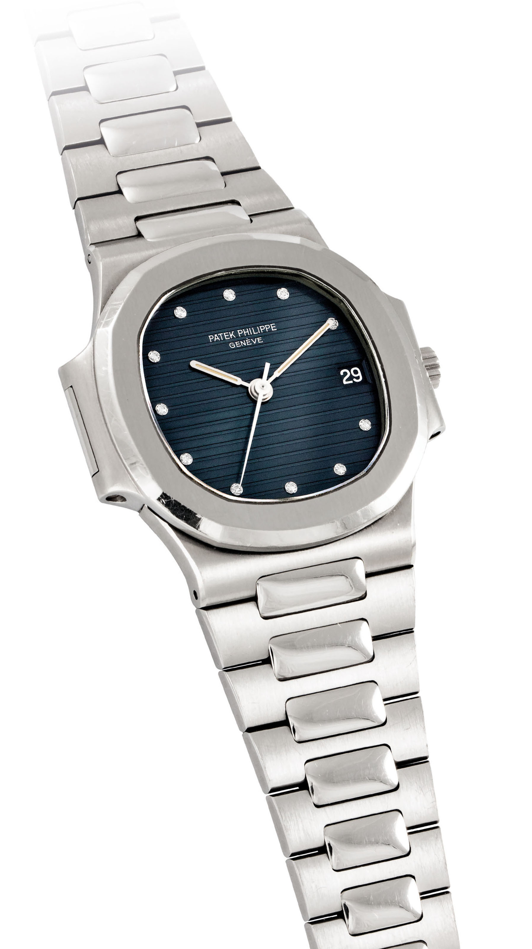PATEK PHILIPPE A RARE AND ATTRACTIVE STAINLESS STEEL AND DIA...