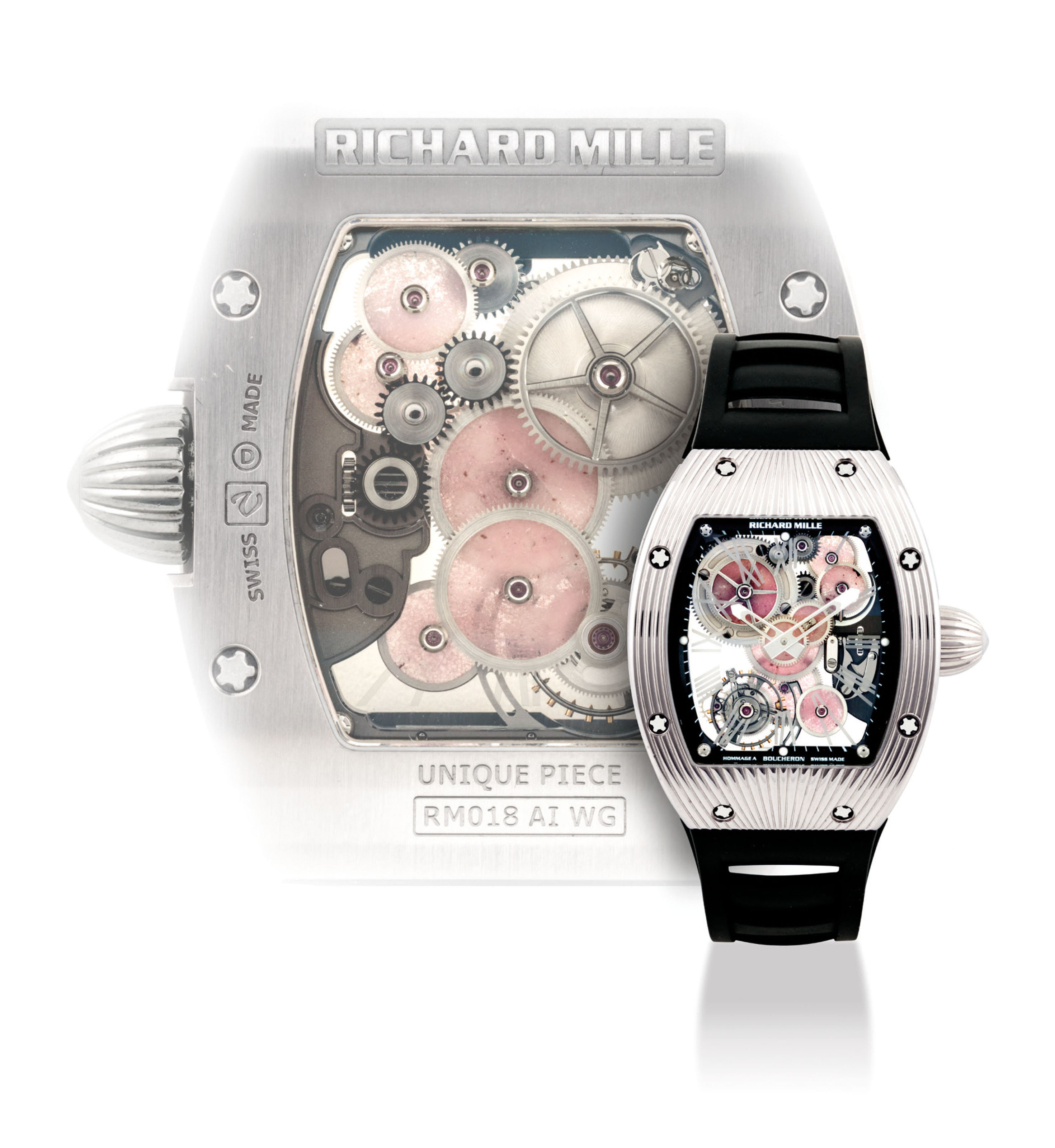 RICHARD MILLE. A UNIQUE AND VERY FINE 18K WHITE GOLD TONNEAU-SHAPED SKELETONISED TOURBILLON WRISTWATCH WITH PINK HARD STONE-SET WHEELS, MADE TO COMMEMORATE THE 150TH ANNIVERSARY OF BOUCHERON