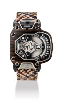 "URWERK. A FINE, ATTRACTIVE AND EXTREMELY RARE TITANIUM AND MACASSAR EBONY LIMITED EDITION AUTOMATIC WRISTWATCH WITH 3-DIMENSIONAL SATELLITE HOUR DISPLAY, DAY/NIGHT AND ""OIL CHANGE"" INDICATION"