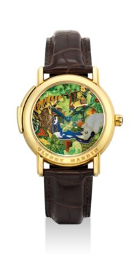 ULYSSE NARDIN. A VERY FINE AND RARE 18K GOLD MINUTE REPEATING WRISTWATCH WITH THREE AUTOMATON SCENE AND CLOISONNÉ ENAMEL DIAL