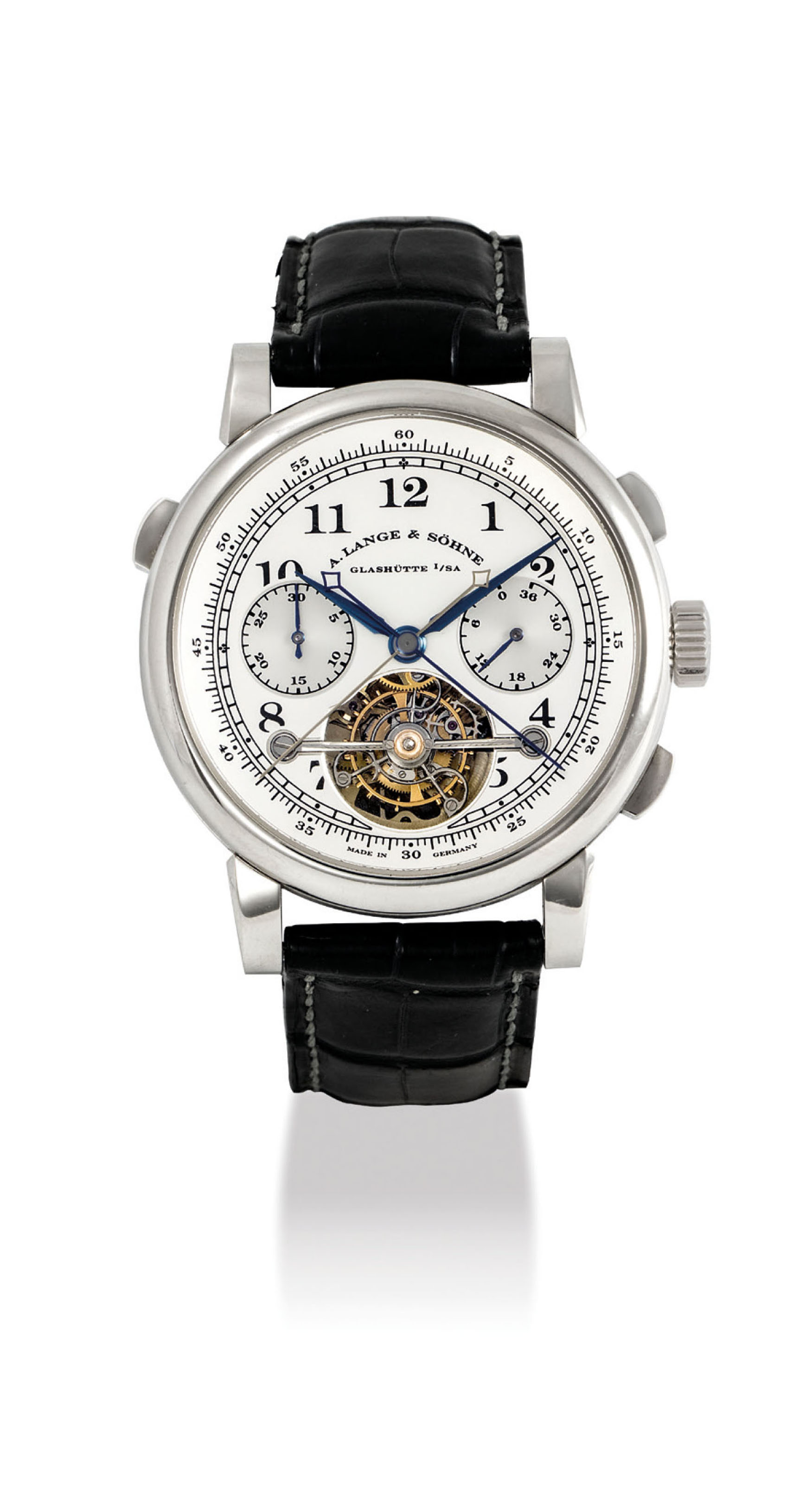 A. LANGE & SÖHNE. AN EXTREMELY FINE AND VERY RARE PLATINUM LIMITED EDITION SPLIT SECONDS CHRONOGRAPH TOURBILLON WRISTWATCH WITH POWER RESERVE INDICATION AND CHAIN FUSÉE