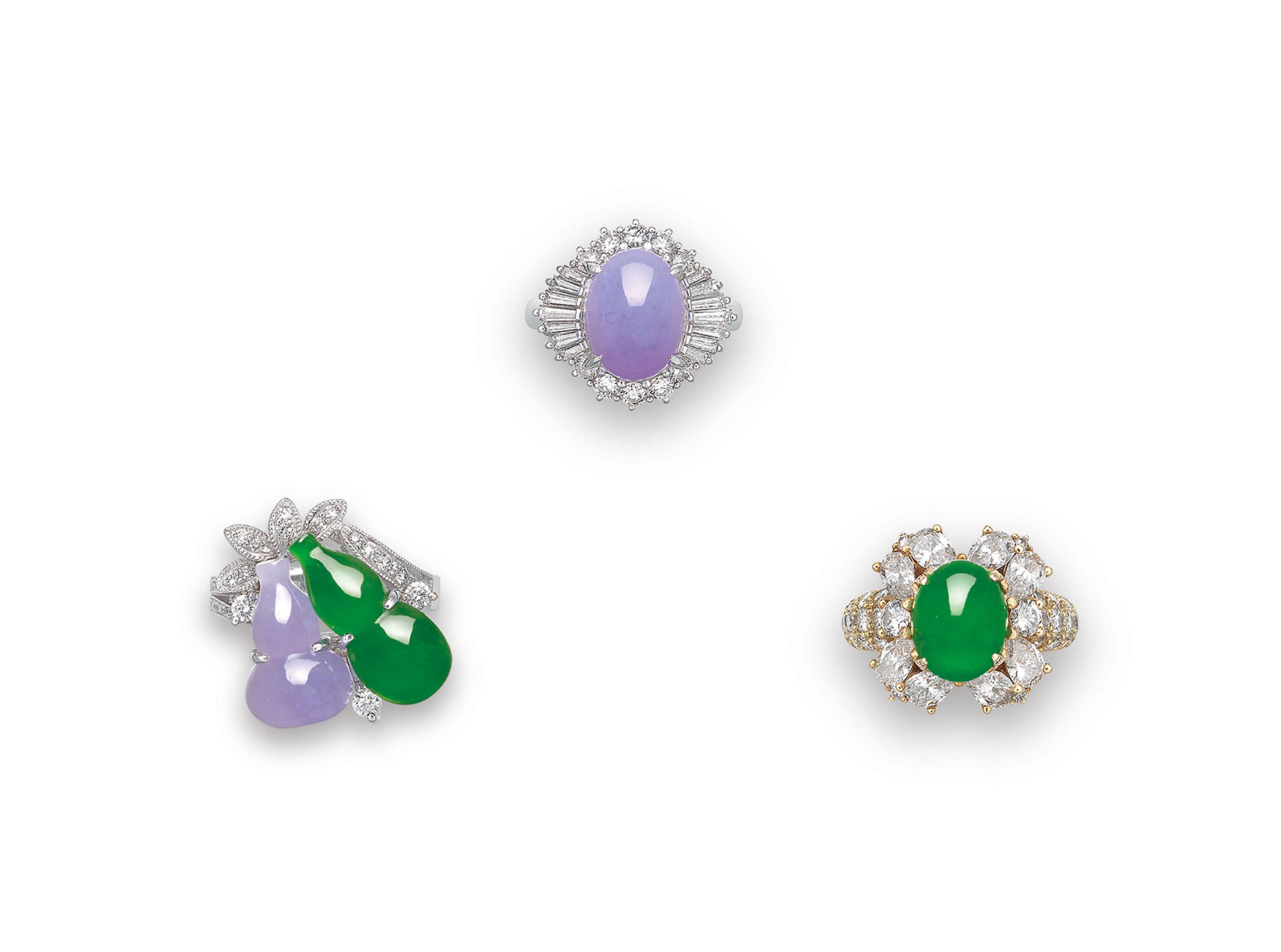 THREE JADEITE AND DIAMOND RINGS