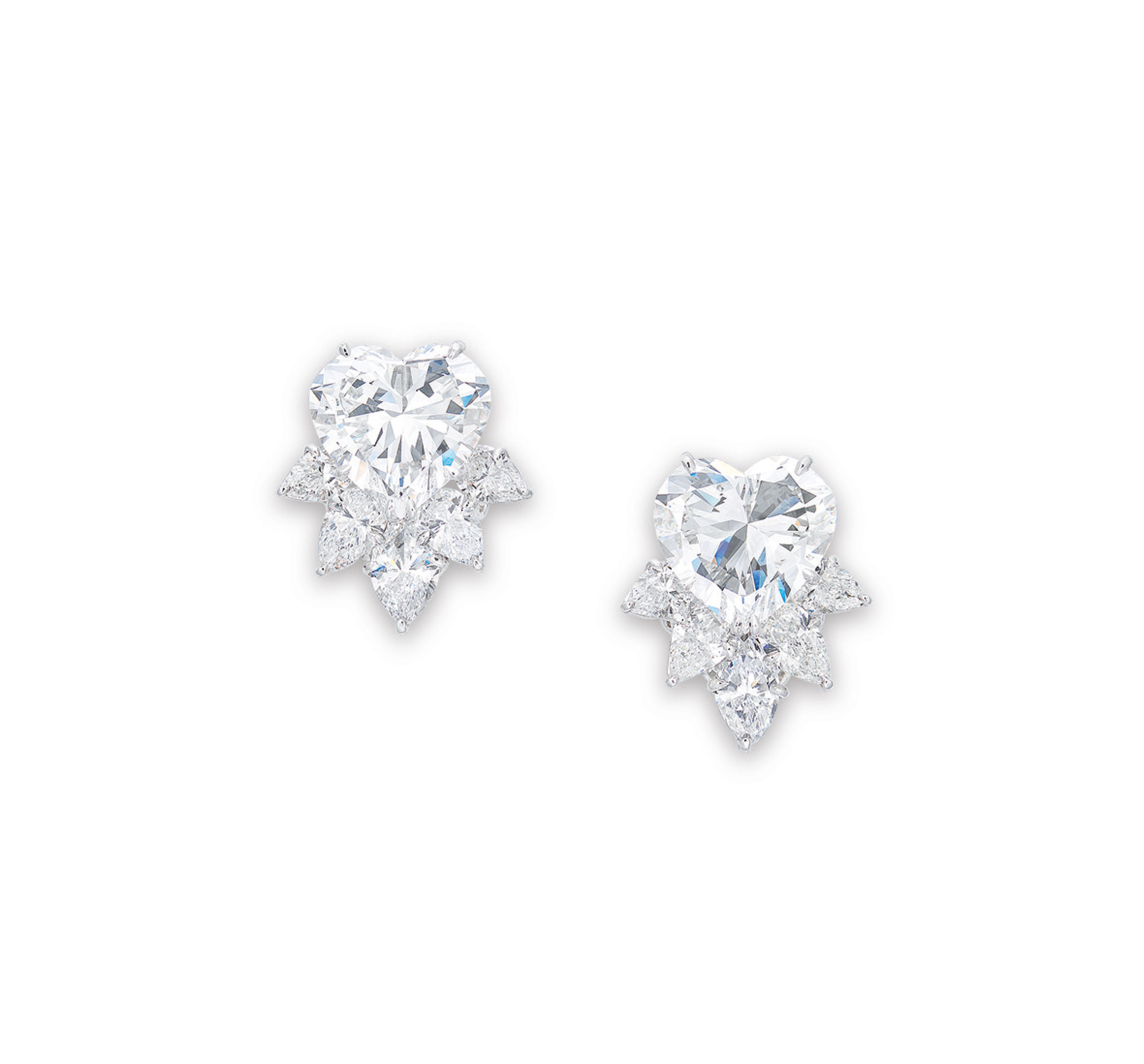 AN IMPORTANT PAIR OF DIAMOND EARRINGS, BY HARRY WINSTON