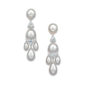A UNIQUE PAIR OF NATURAL PEARL AND DIAMOND EAR PENDANTS, BY