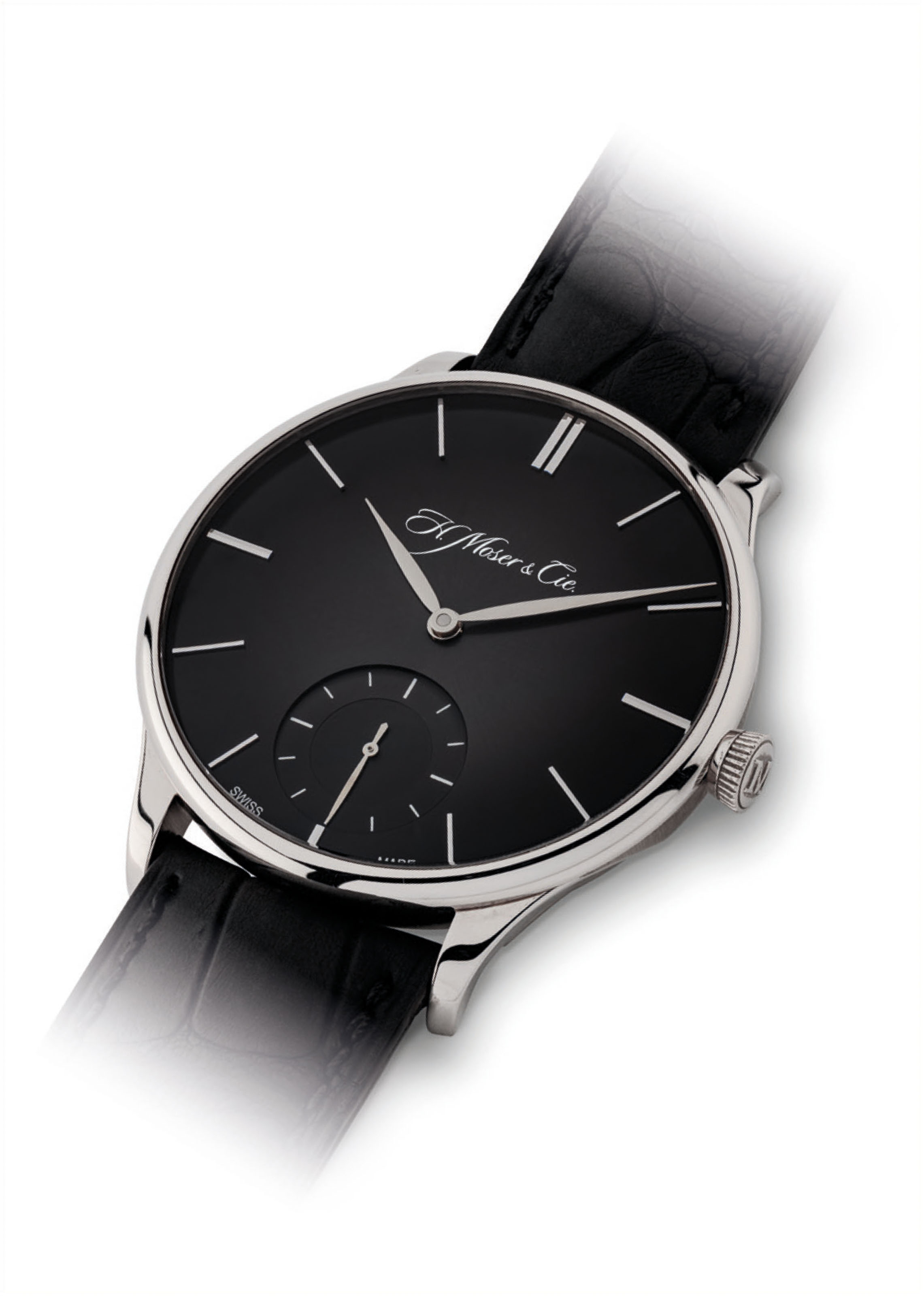 HENRY MOSER. A FINE 18K WHITE GOLD WRISTWATCH WITH HACK FEATURE