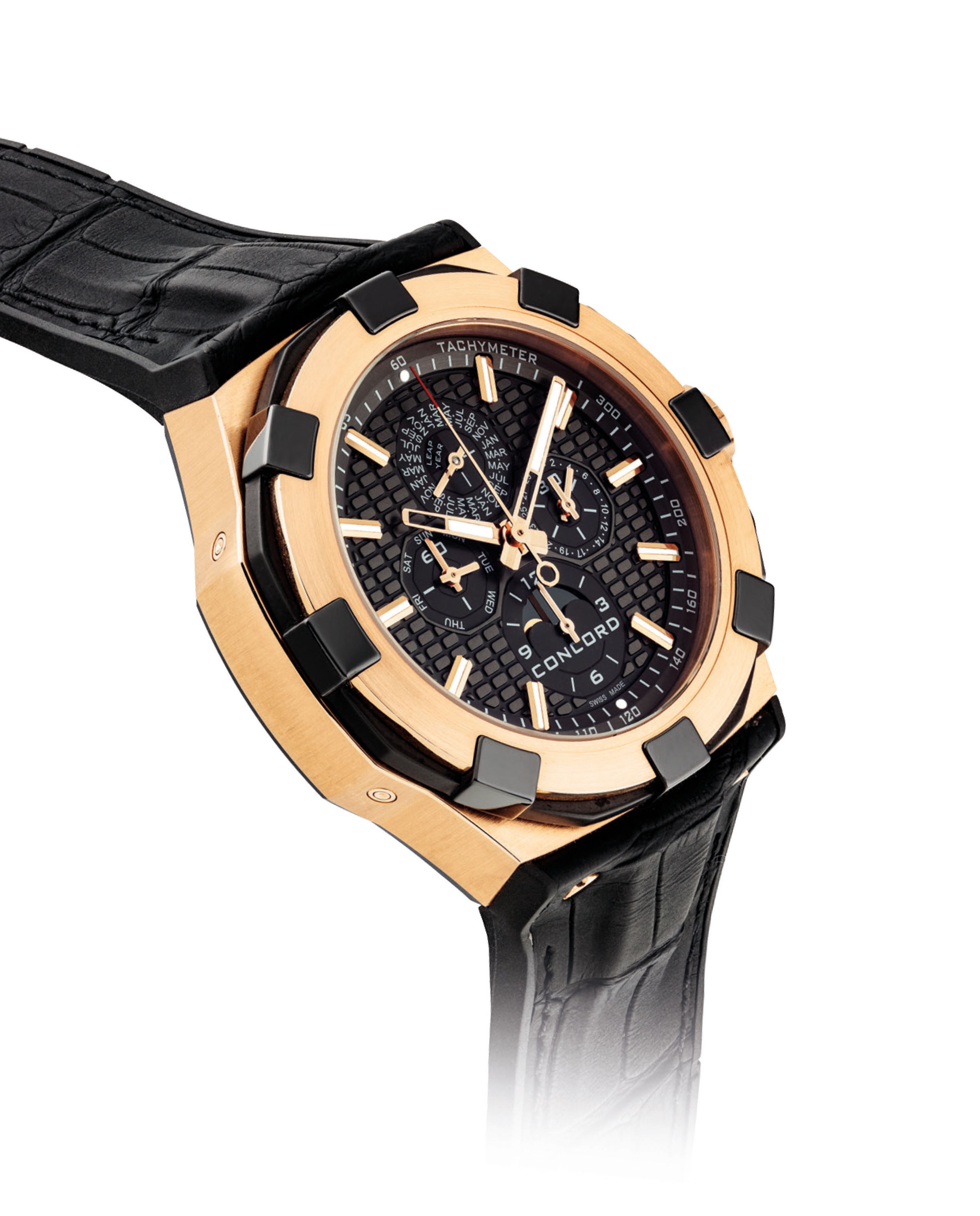 CONCORD. AN 18K PINK GOLD AND TITANIUM LIMITED EDITION AUTOMATIC PERPETUAL CALENDAR CHRONOGRAPH WRISTWATCH WITH MOON PHASES AND LEAP YEAR INDICATION