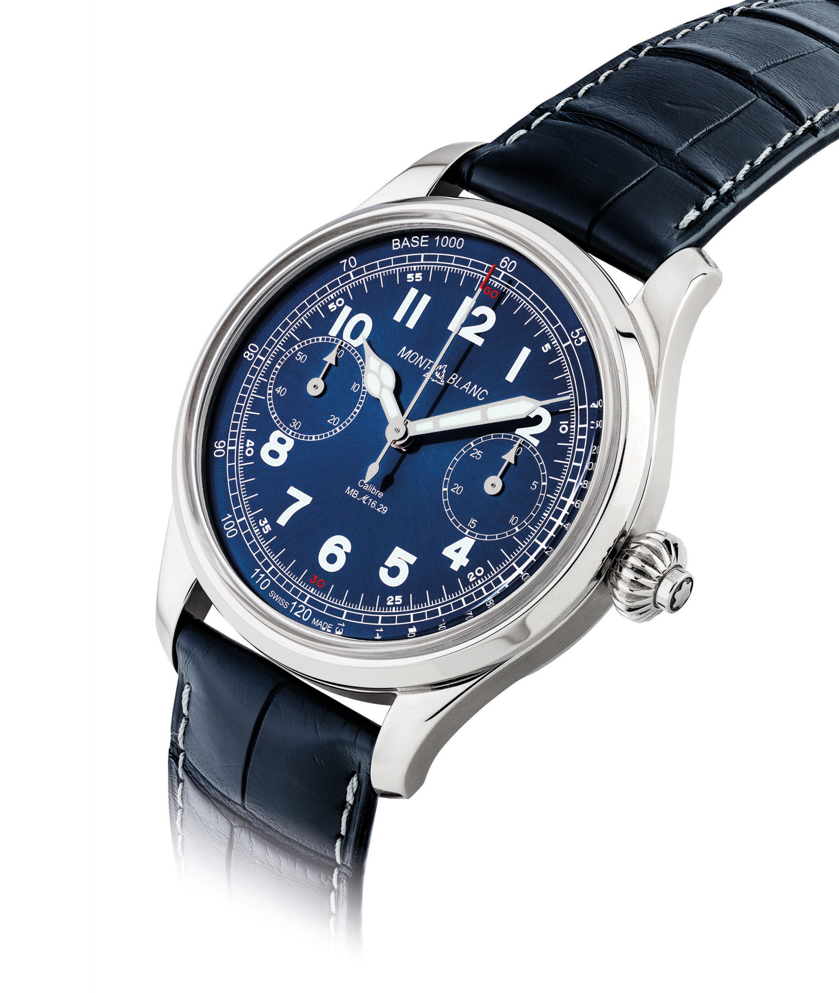 MONTBLANC. A FINE AND VERY RARE STAINLESS STEEL LIMITED EDITION SINGLE-BUTTON CHRONOGRAPH WRISTWATCH