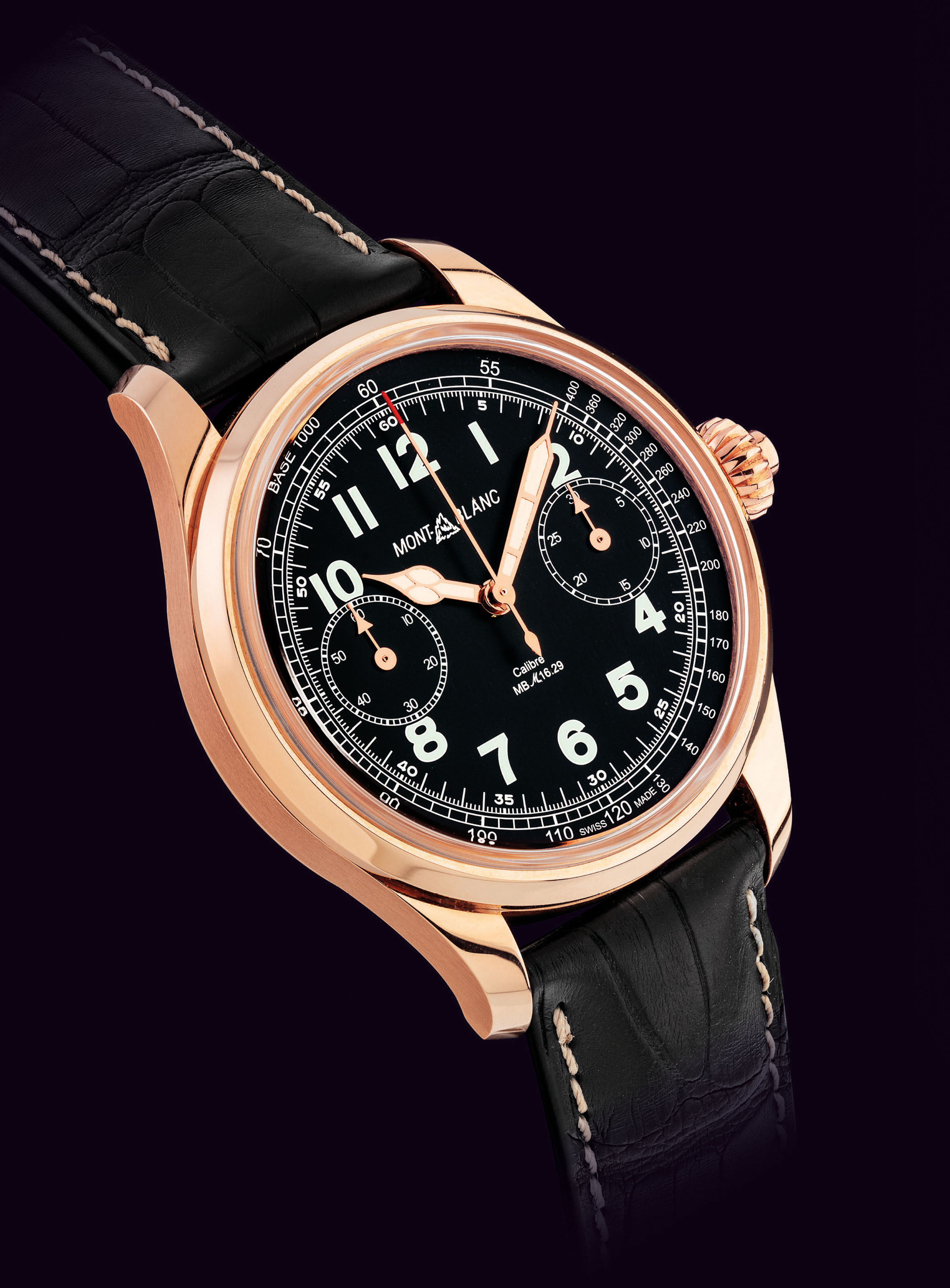 MONTBLANC. A FINE AND VERY RARE 18K PINK GOLD LIMITED EDITION SINGLE-BUTTON CHRONOGRAPH WRISTWATCH