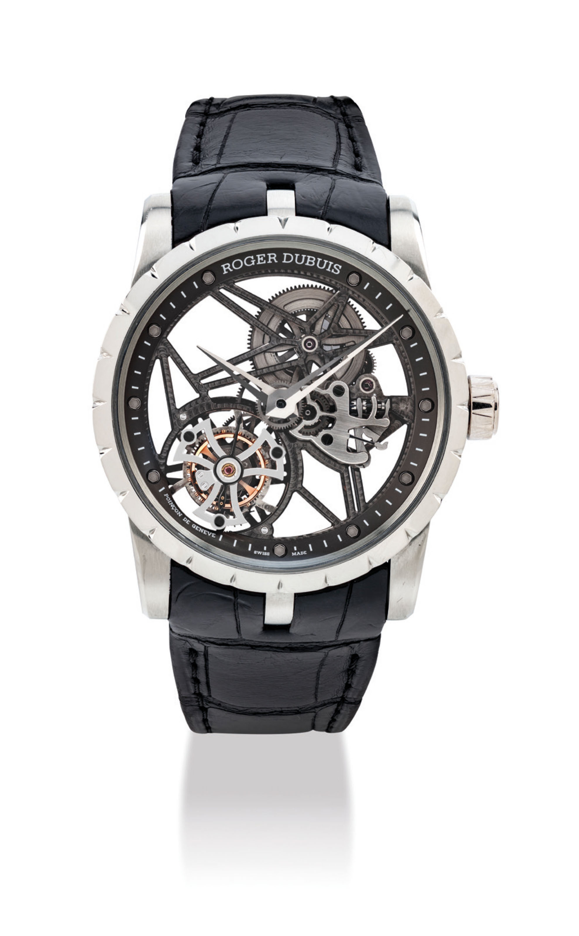 ROGER DUBUIS. A VERY FINE AND RARE 18K WHITE GOLD SKELETONISED TOURBILLON WRISTWATCH