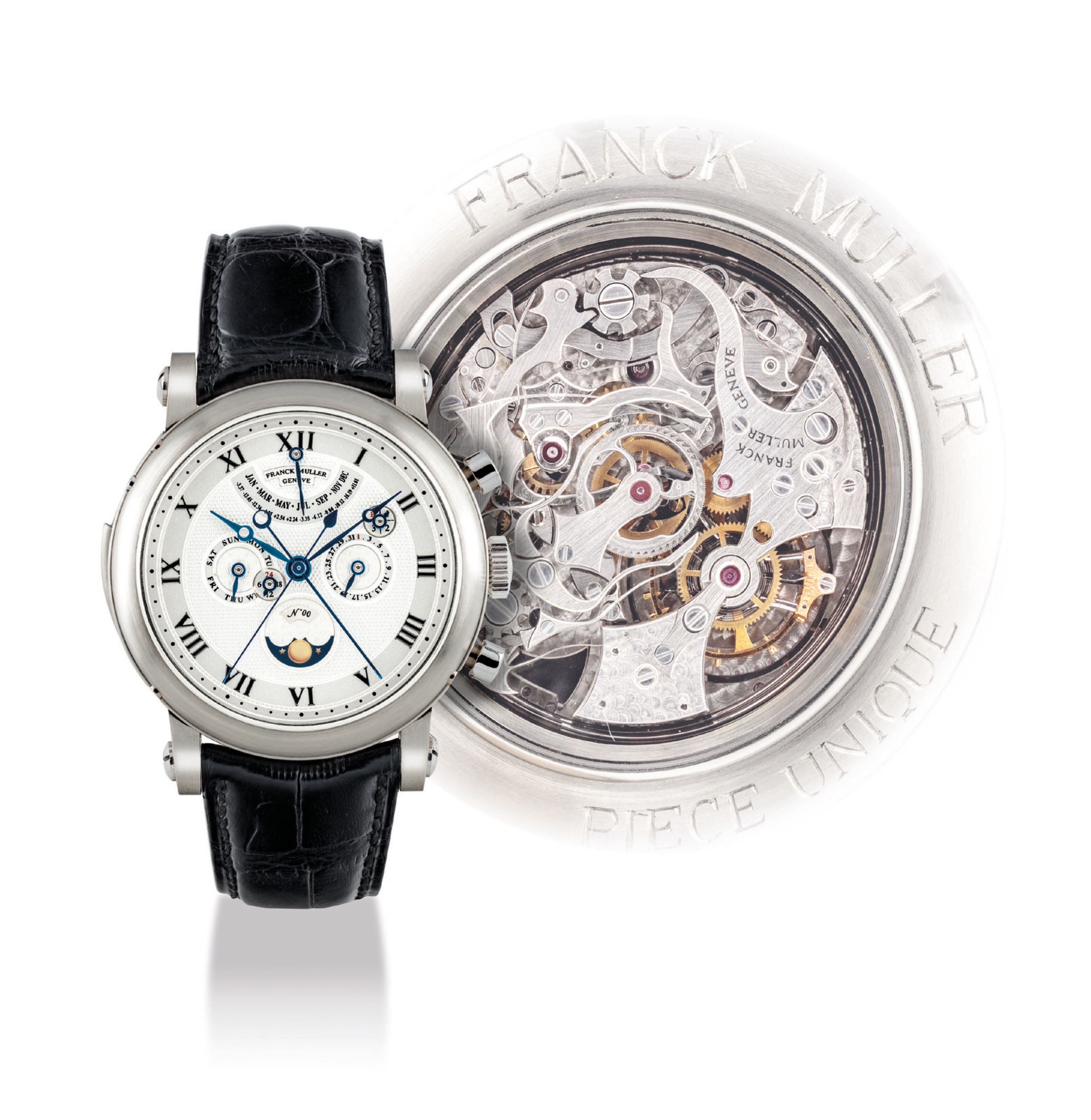 FRANCK MULLER. A UNIQUE AND MAGNIFICENT PLATINUM MINUTE REPEATING TOURBILLON PERPETUAL CALENDAR SPLIT SECONDS CHRONOGRAPH WRISTWATCH WITH EQUATION OF TIME AND MOON PHASES