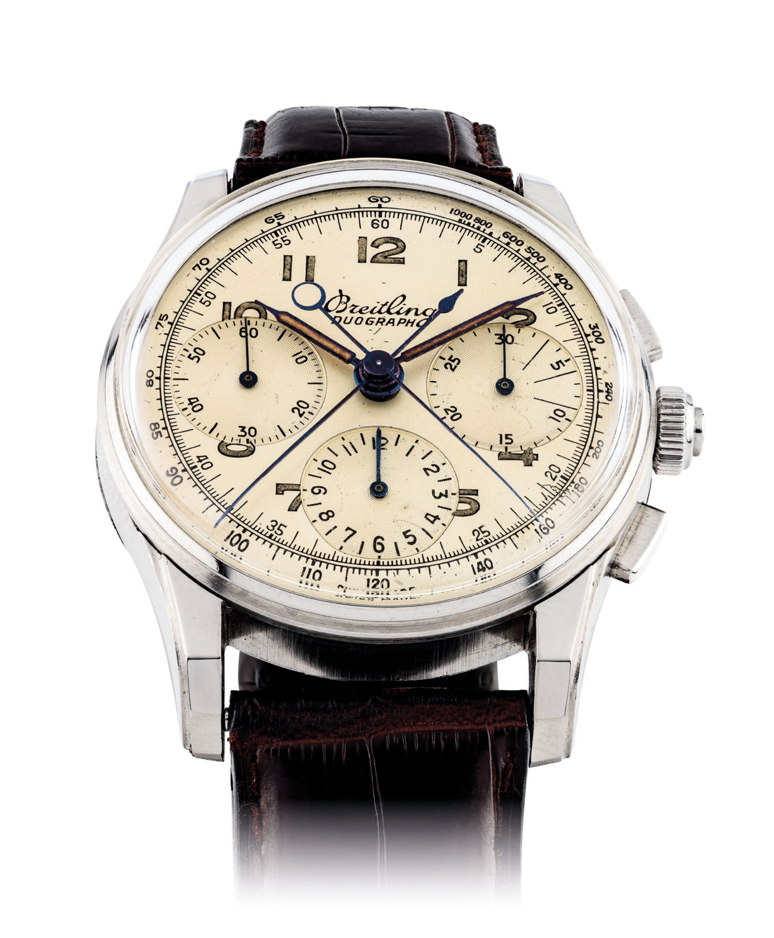 BREITLING. A FINE AND VERY RARE STAINLESS STEEL SPLIT SECONDS CHRONOGRAPH WRISTWATCH