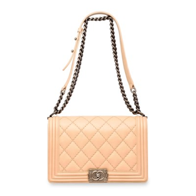 f650ad5a33737b A BEIGE QUILTED CALFSKIN LEATHER MEDIUM BOY BAG WITH ANTIQUED SILVER  HARDWARE, CHANEL, 2014   Christie's