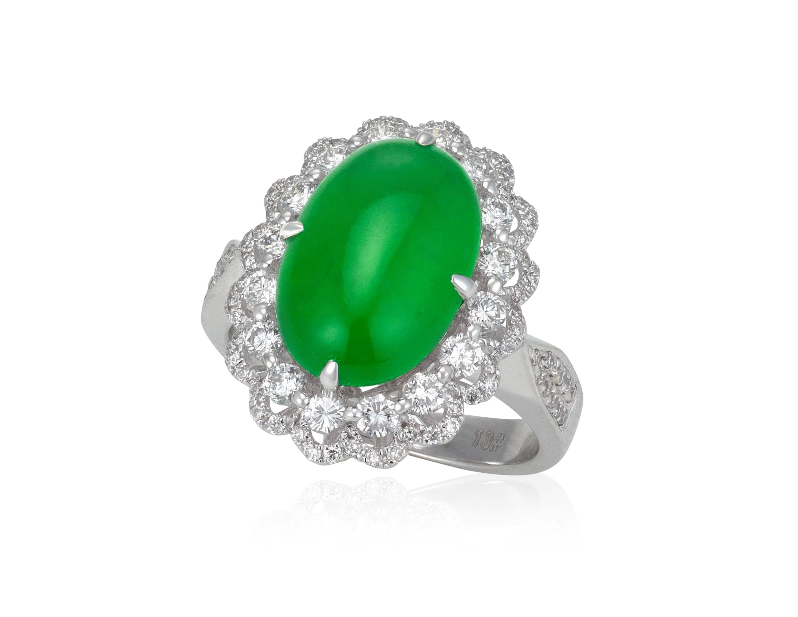 42a1bd0e94b05 JADEITE AND DIAMOND RING WITH REPORT