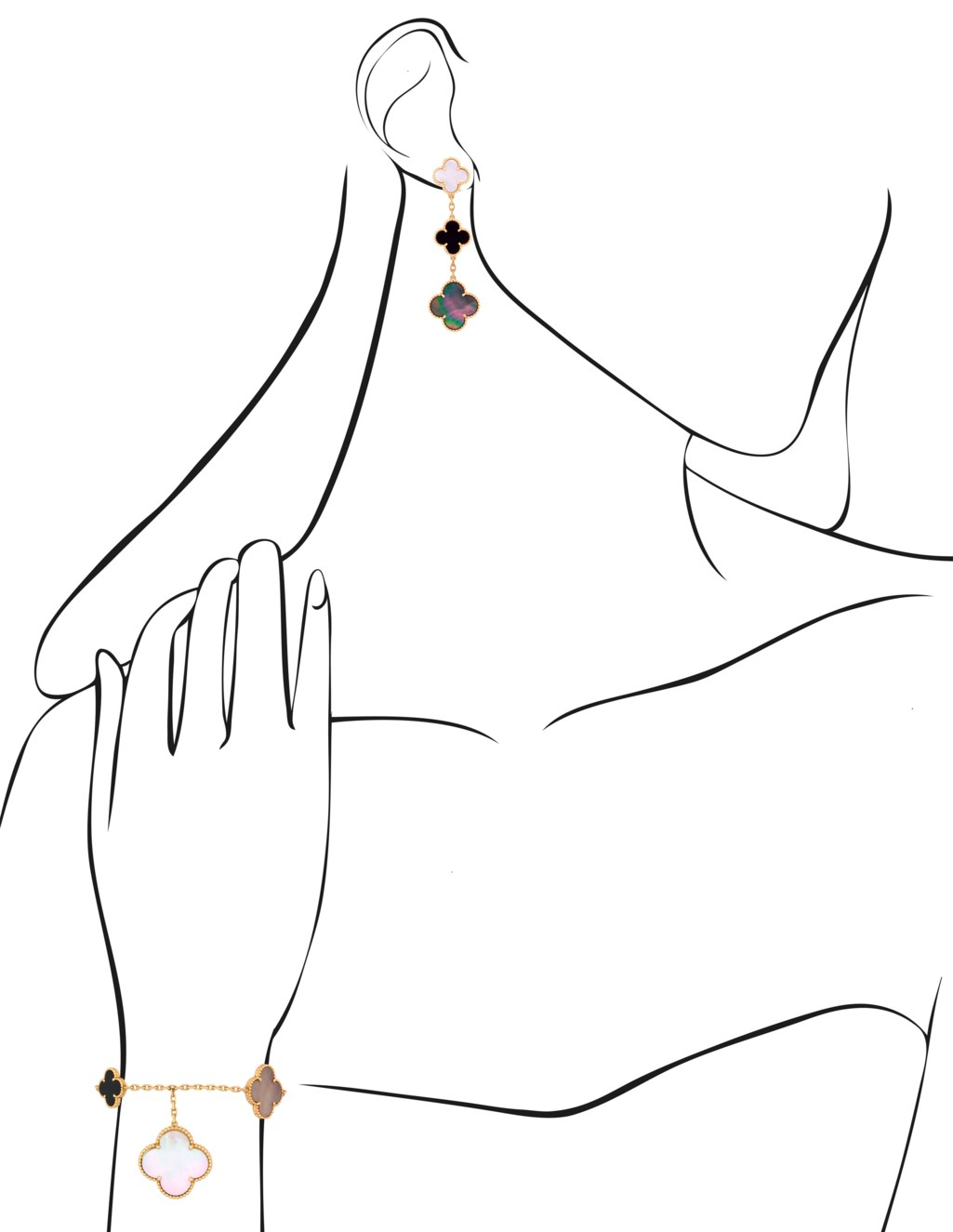 VAN CLEEF & ARPELS 'MAGIC ALHAMBRA' SET OF ONYX AND MOTHER-OF-PEARL JEWELLERY