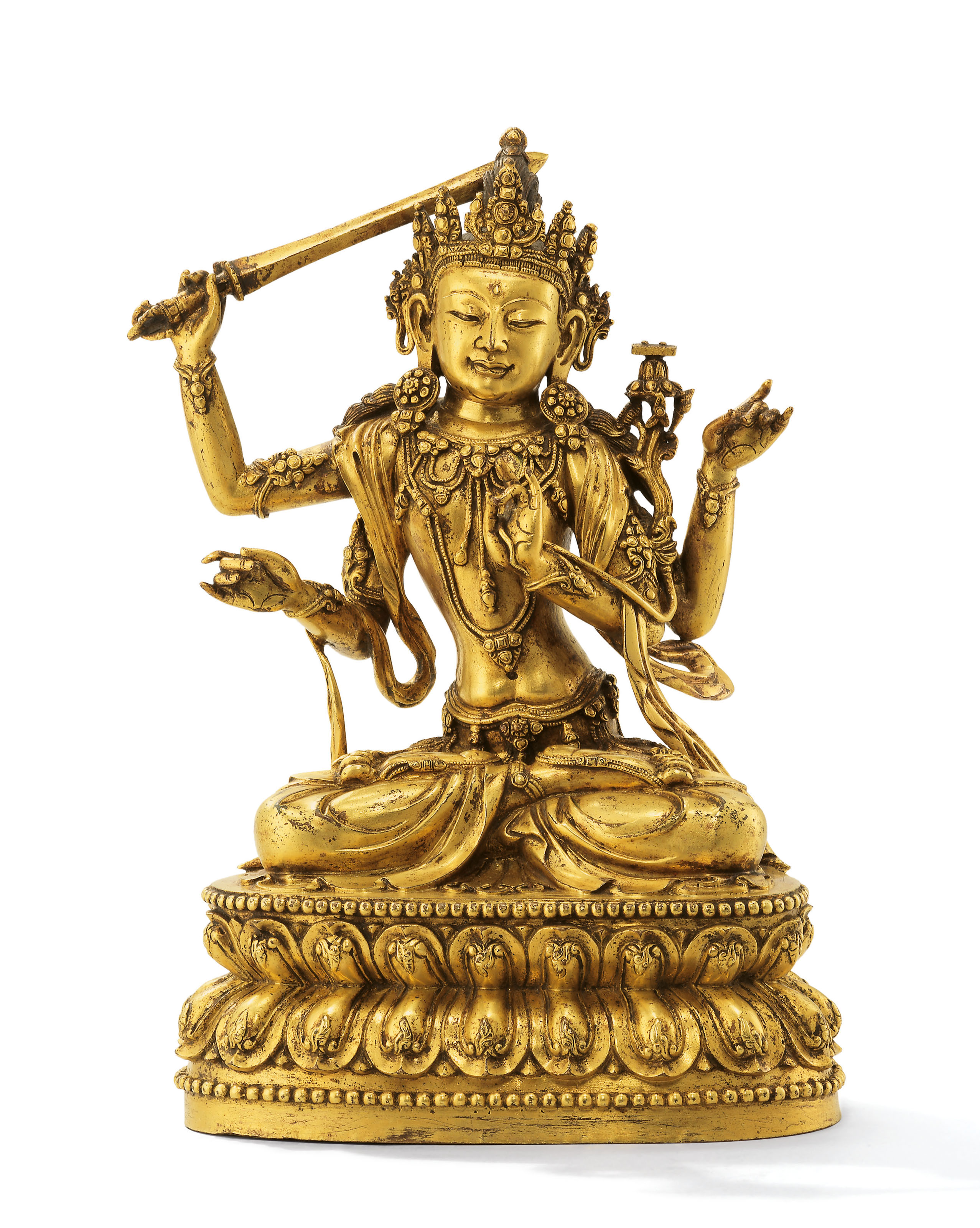 A VERY RARE IMPERIAL EARLY MING LARGE GILT-BRONZE FIGURE OF ...