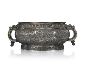 AN IMPORTANT AND VERY RARE IMPERIAL LARGE REPOUSSE PARCEL-GI