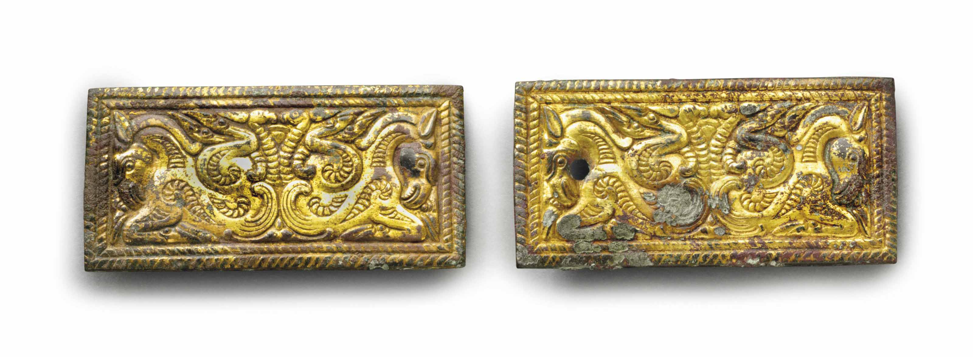 A PAIR OF GILT-BRONZE RECTANGU