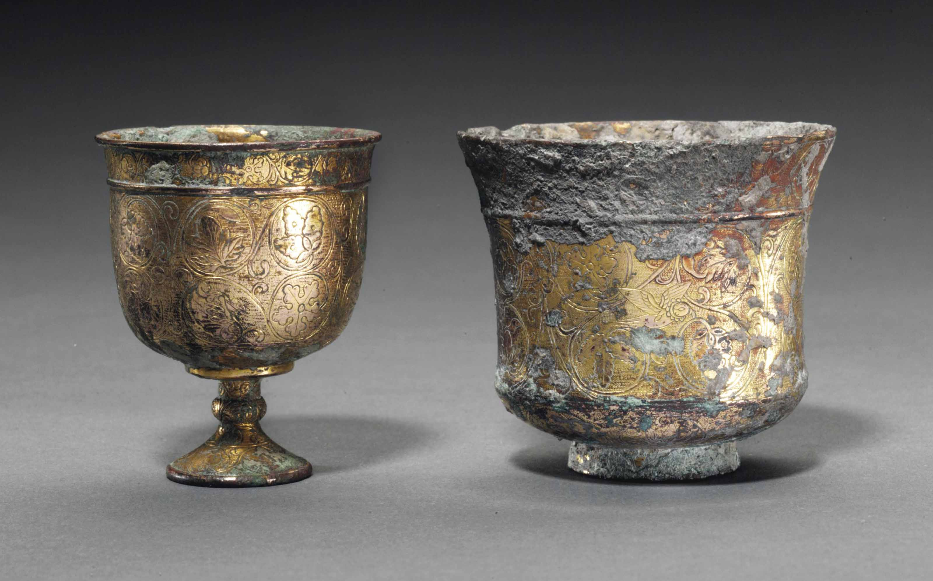 TWO GILT-BRONZE CUPS